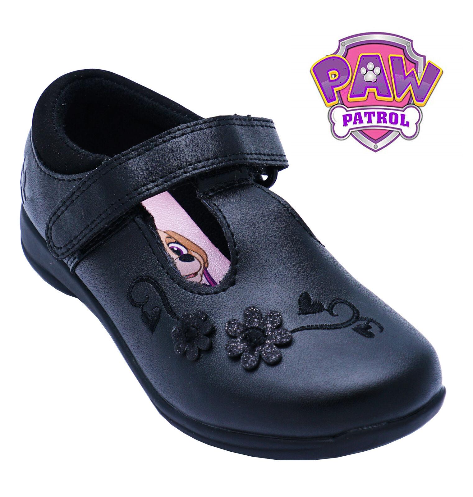 GIRLS PAW PATROL BLACK DOLLY PUMPS SCHOOL BALLET FLAT INFANTS KIDS SHOES UK 6-12