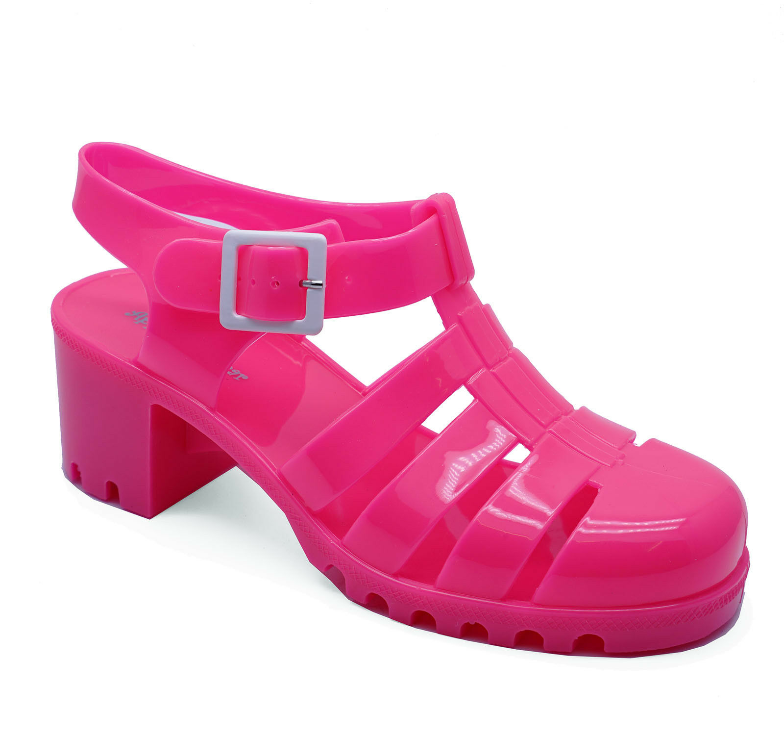 0319d32f18732 Details about WOMENS PINK CHUNKY HEEL PLATFORM JELLY HOLIDAY SANDALS PUMPS  SHOES SIZES 3-8