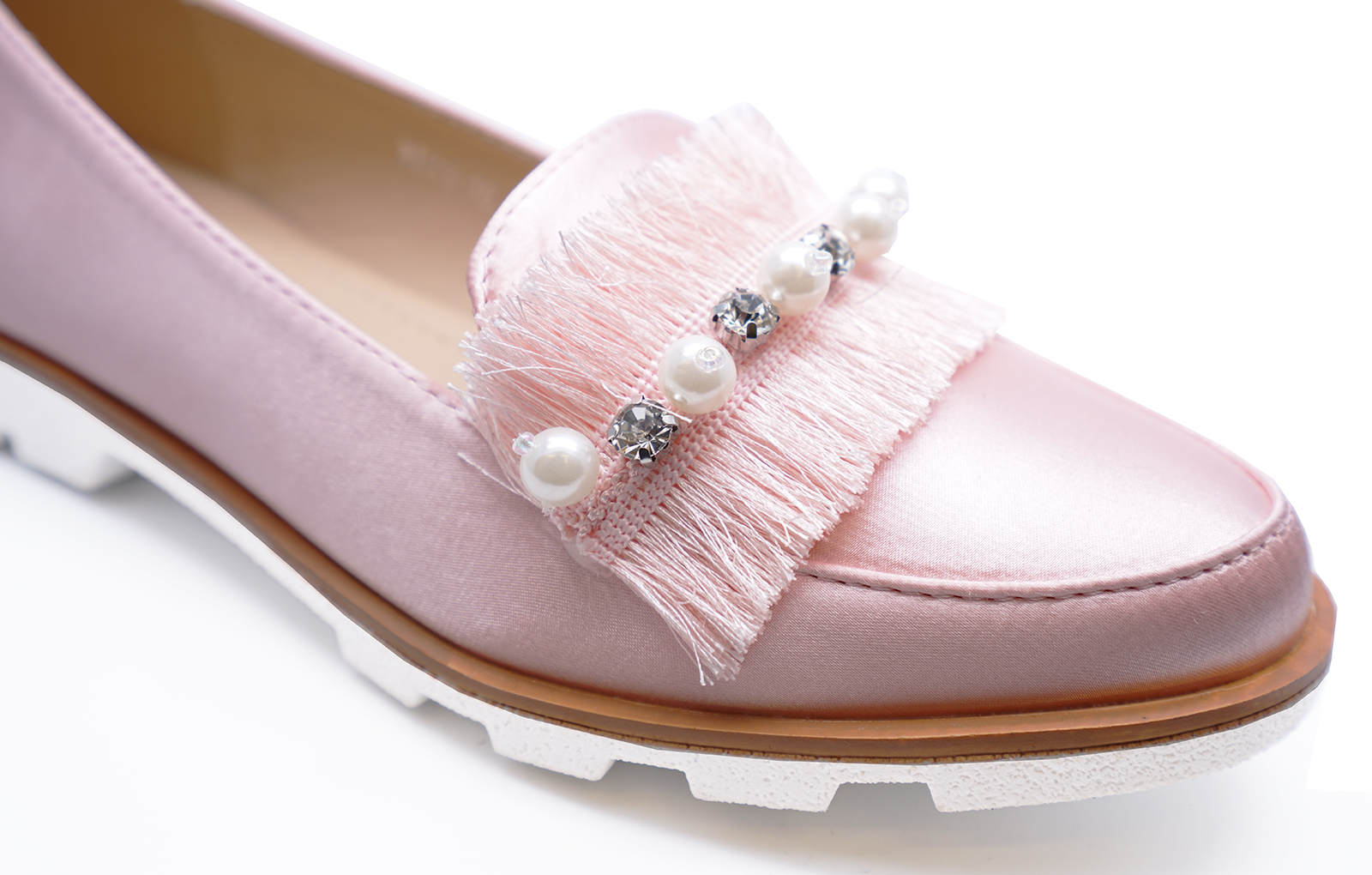 LADIES PINK SLIP-ON STUD LOAFERS SMART CASUAL FLAT COMFY PUMPS SHOES SIZES 3-8