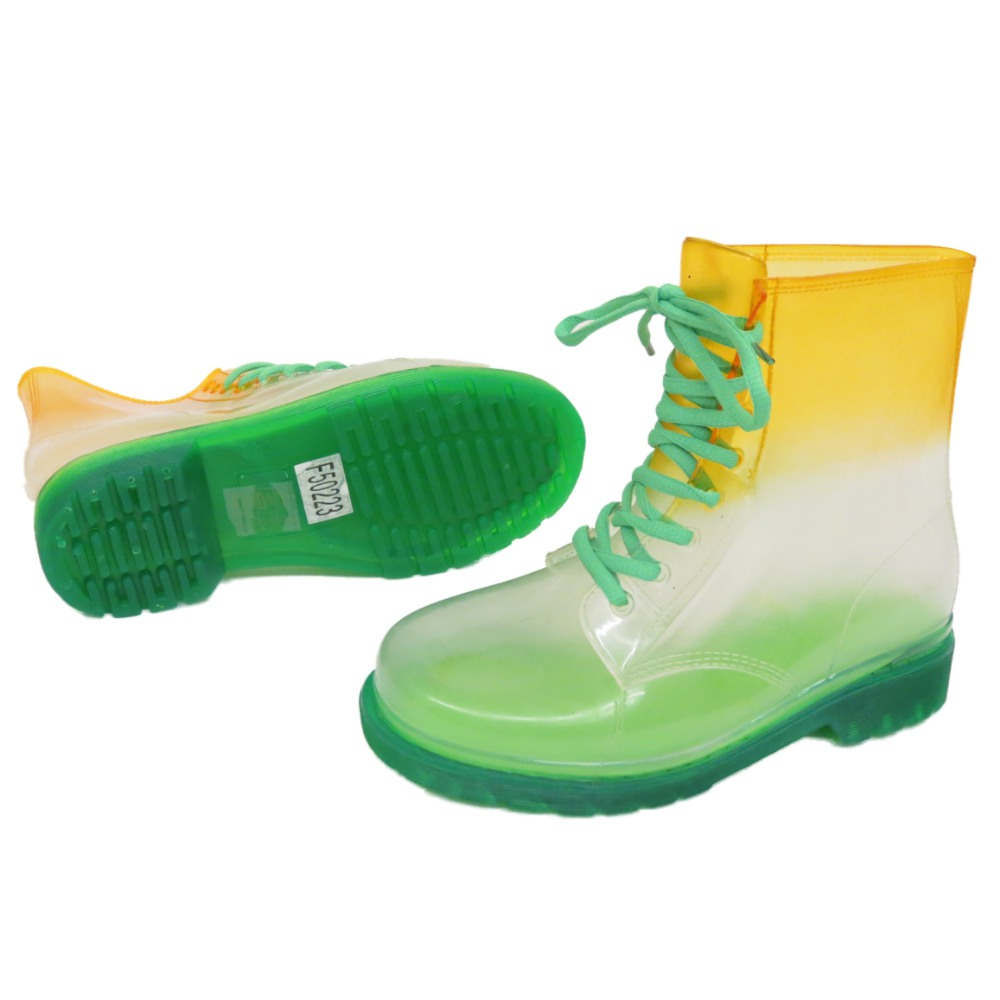 LADIES-FLAT-GREEN-CLEAR-FESTIVAL-JELLY-WELLIES-LACE-UP-RAIN-ANKLE-BOOT-SHOES-4-8 thumbnail 4