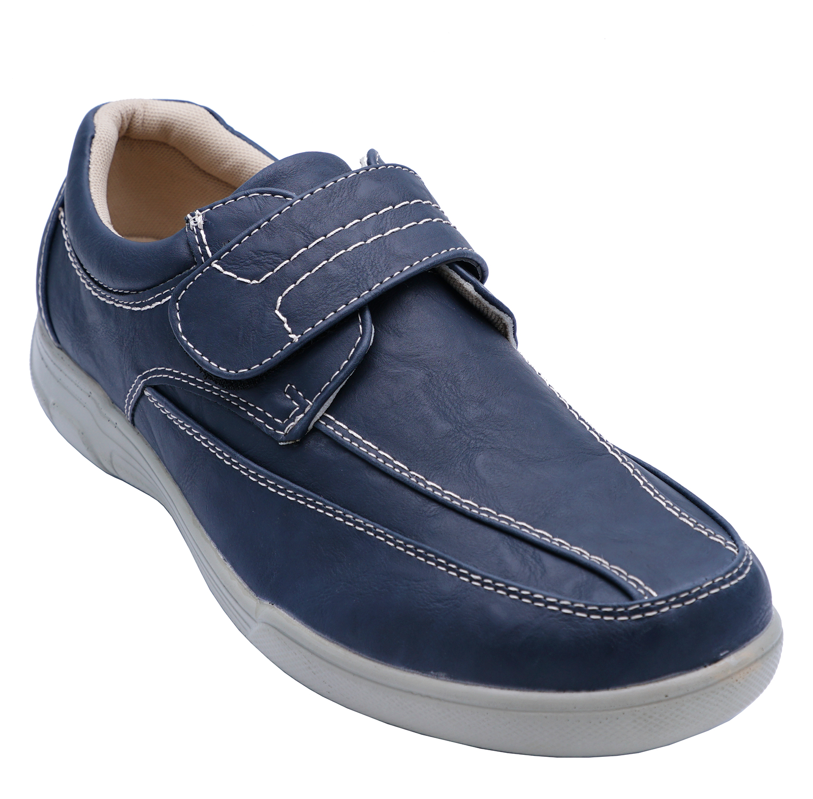 thumbnail 6 - MENS-NAVY-TOUCH-STRAP-COMFY-LIGHTWEIGHT-SMART-CASUAL-LOAFERS-DECK-SHOES-6-12