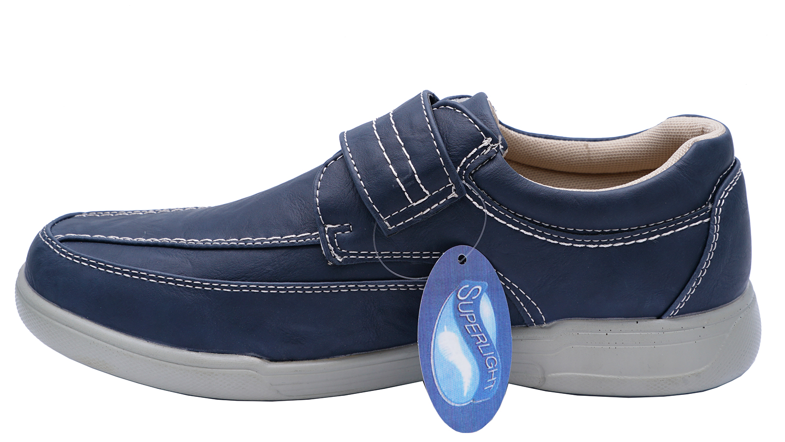 thumbnail 7 - MENS-NAVY-TOUCH-STRAP-COMFY-LIGHTWEIGHT-SMART-CASUAL-LOAFERS-DECK-SHOES-6-12