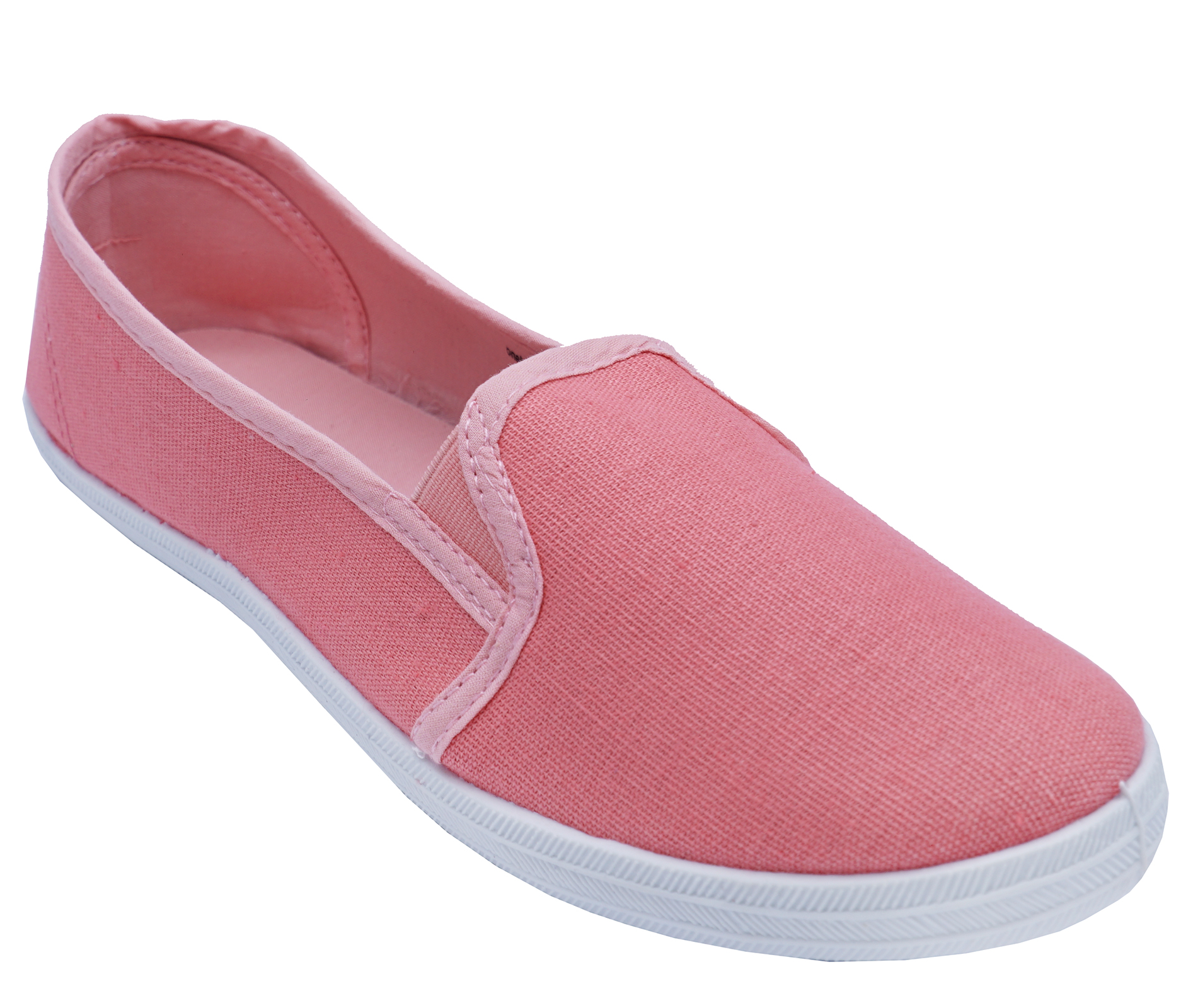 WOMENS PINK SATIN SLIP-ON TRAINERS CASUAL PUMPS PLIMSOLLS SPORTS SHOES 3-8