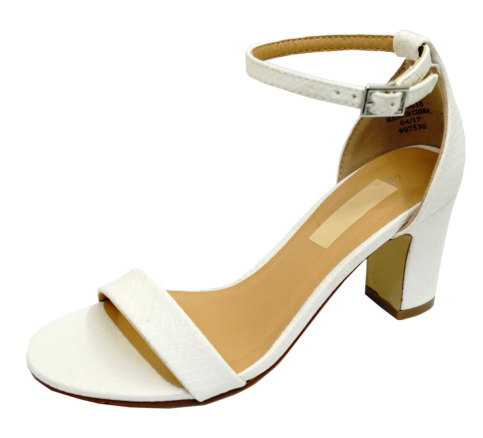 LADIES-WHITE-ANKLE-STRAP-BLOCK-HEEL-PEEPTOE-SANDALS-HOLIDAY-COMFY-SHOES-UK-3-8 thumbnail 6