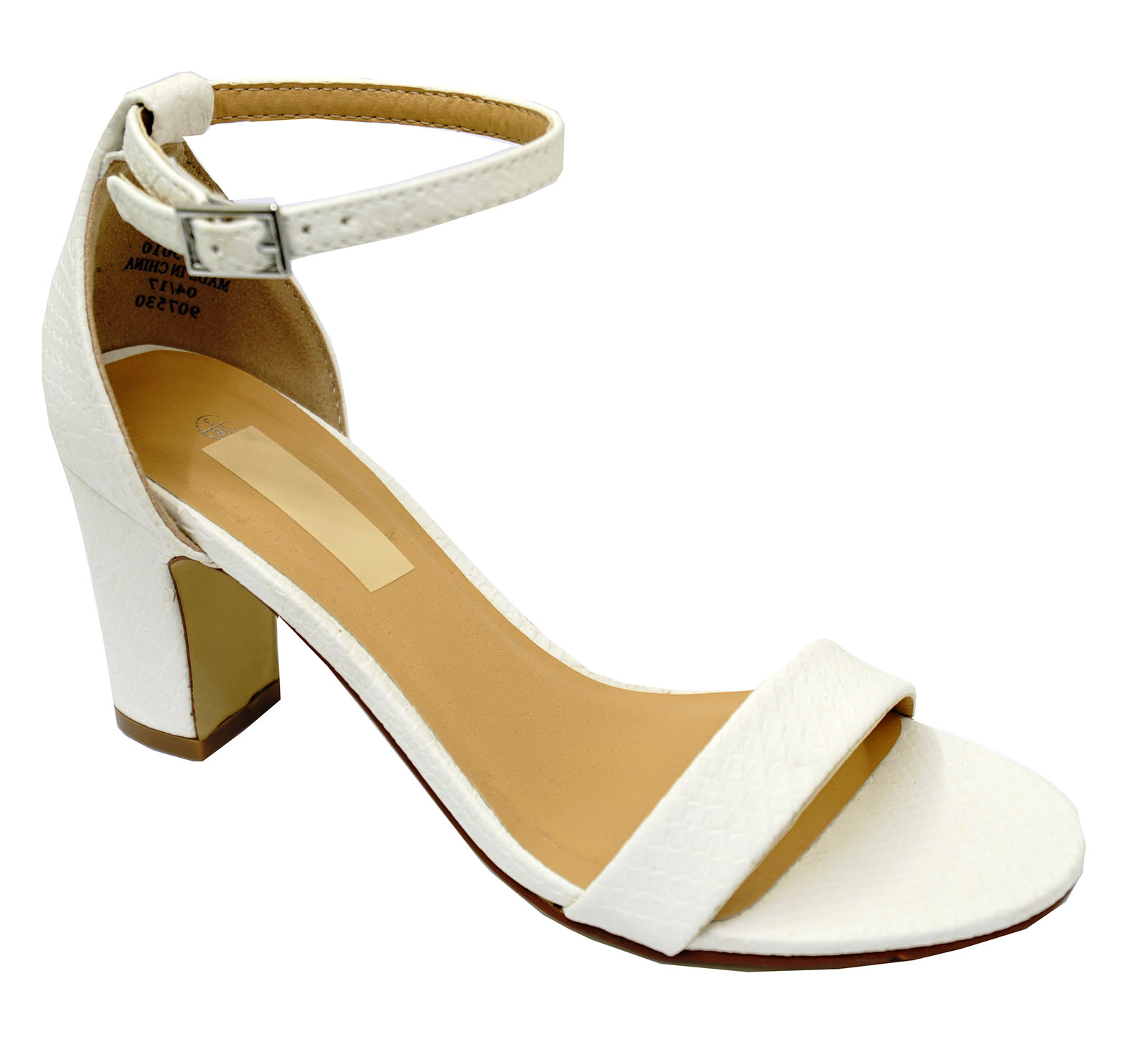 LADIES-WHITE-ANKLE-STRAP-BLOCK-HEEL-PEEPTOE-SANDALS-HOLIDAY-COMFY-SHOES-UK-3-8 thumbnail 7