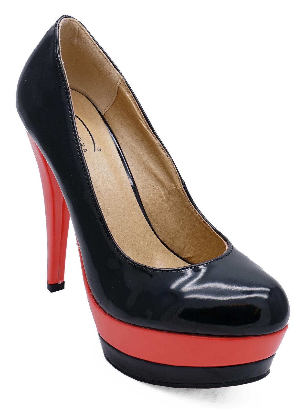 LADIES BLACK CORAL PLATFORM STILETTO HIGH-HEEL SLIP-ON COURT EVENING SHOES 3-8