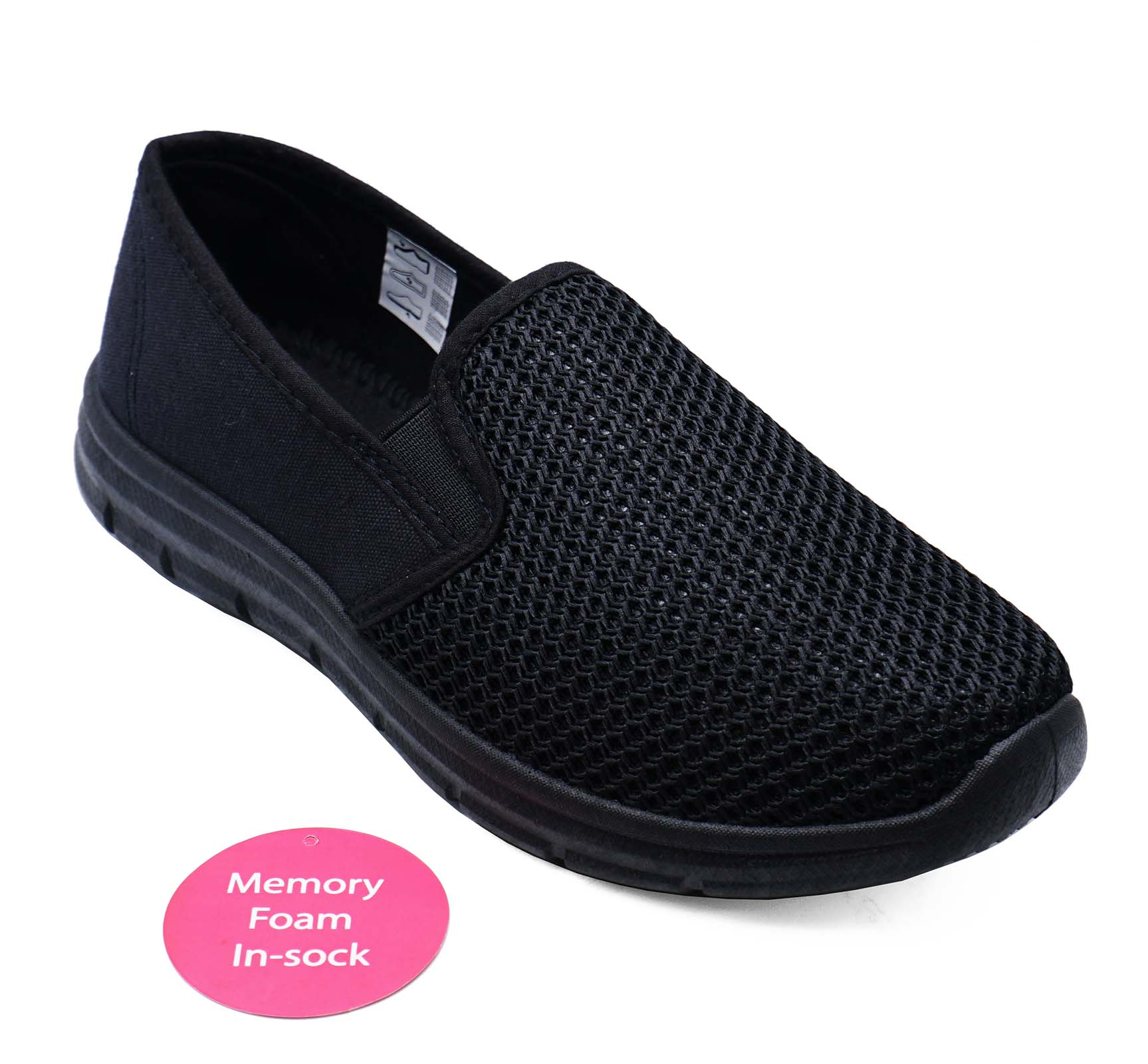 thumbnail 6 - LADIES-BLACK-SLIP-ON-COMFY-MEMORY-FOAM-TRAINER-PLIMSOLLS-CASUAL-PUMPS-SHOES-3-9