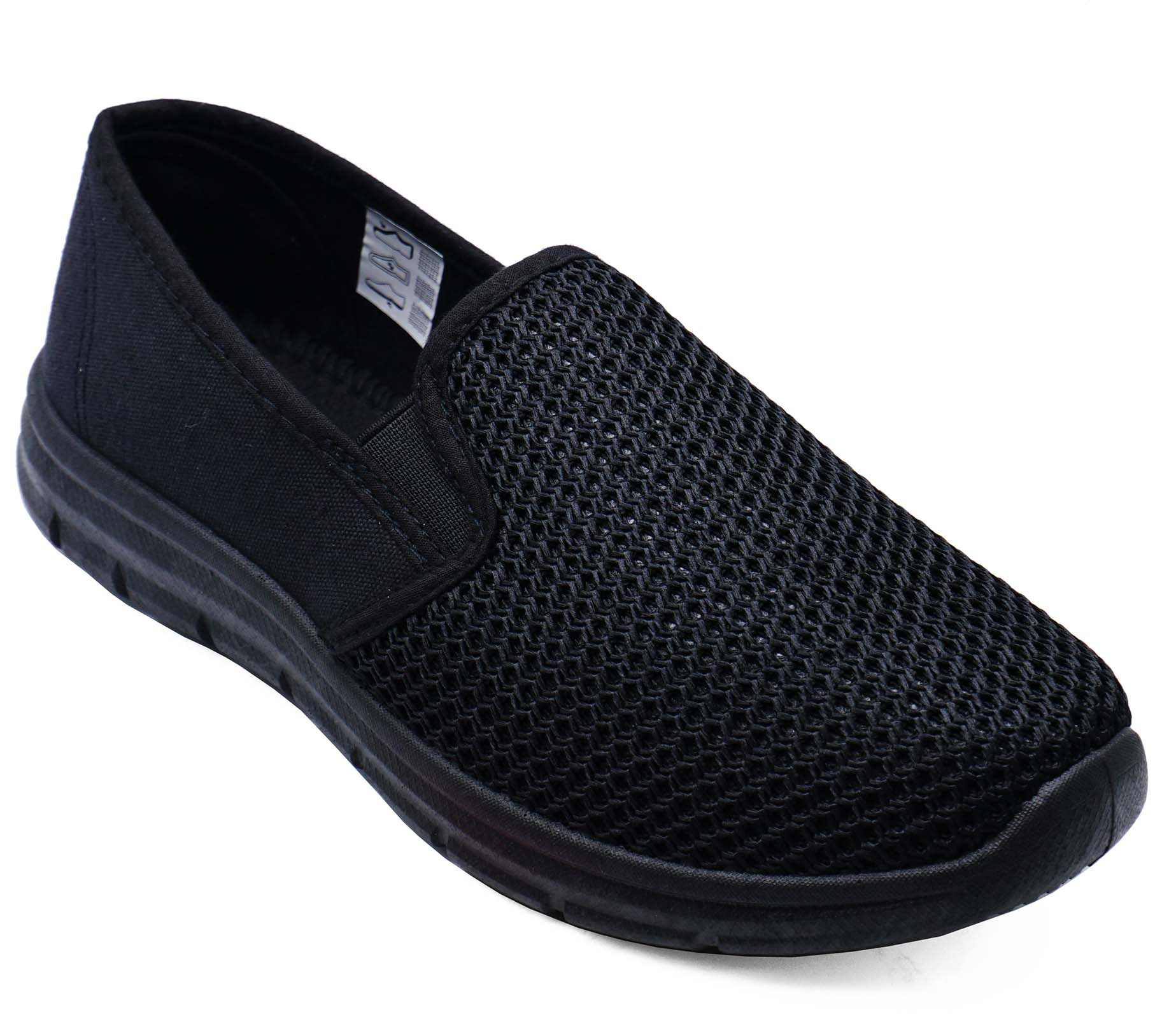 thumbnail 7 - LADIES-BLACK-SLIP-ON-COMFY-MEMORY-FOAM-TRAINER-PLIMSOLLS-CASUAL-PUMPS-SHOES-3-9
