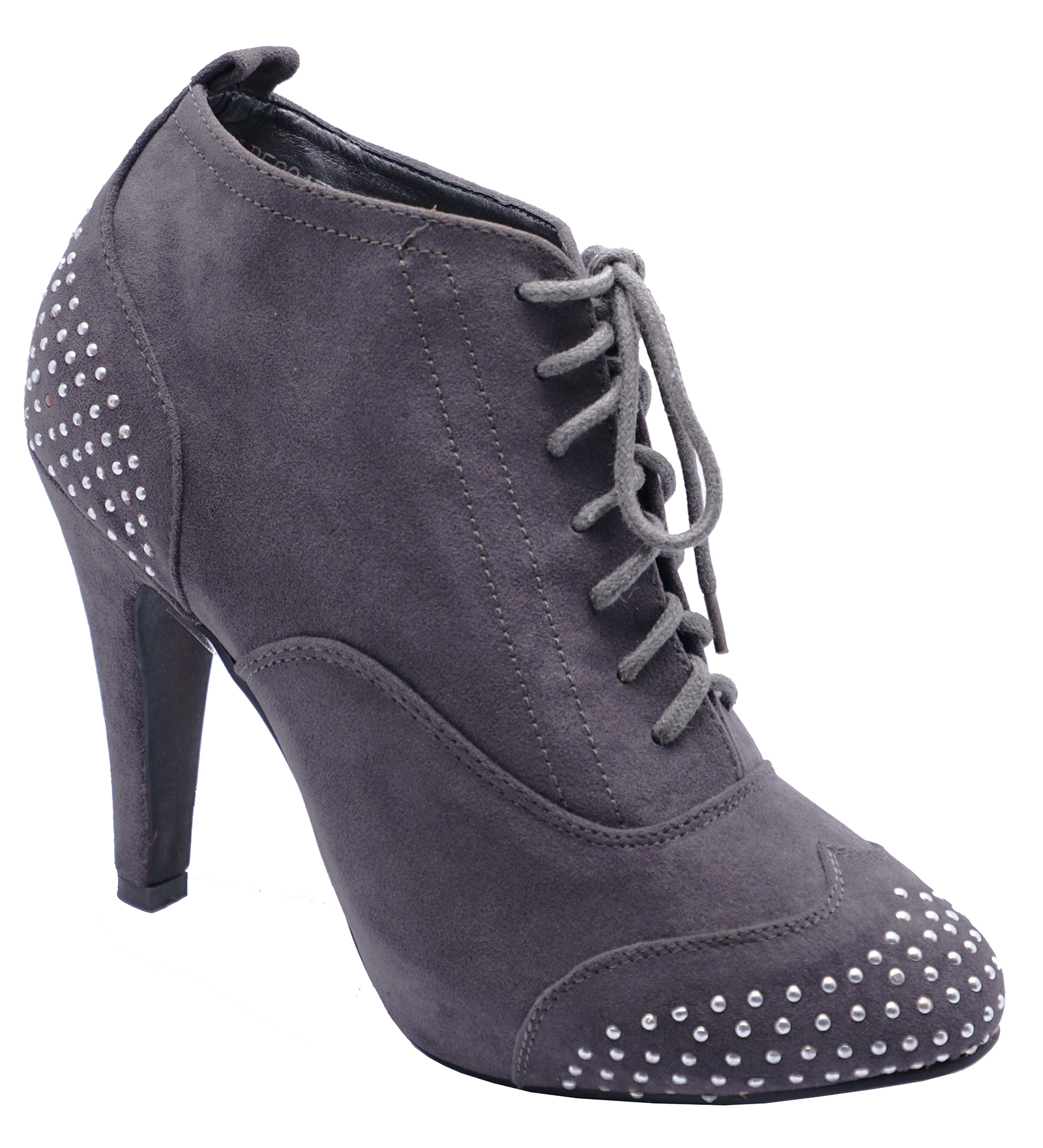 LADIES GREY LACE-UP DIAMANTE HIGH-HEEL BROGUE ANKLE BOOTS SHOES SIZES 3-8