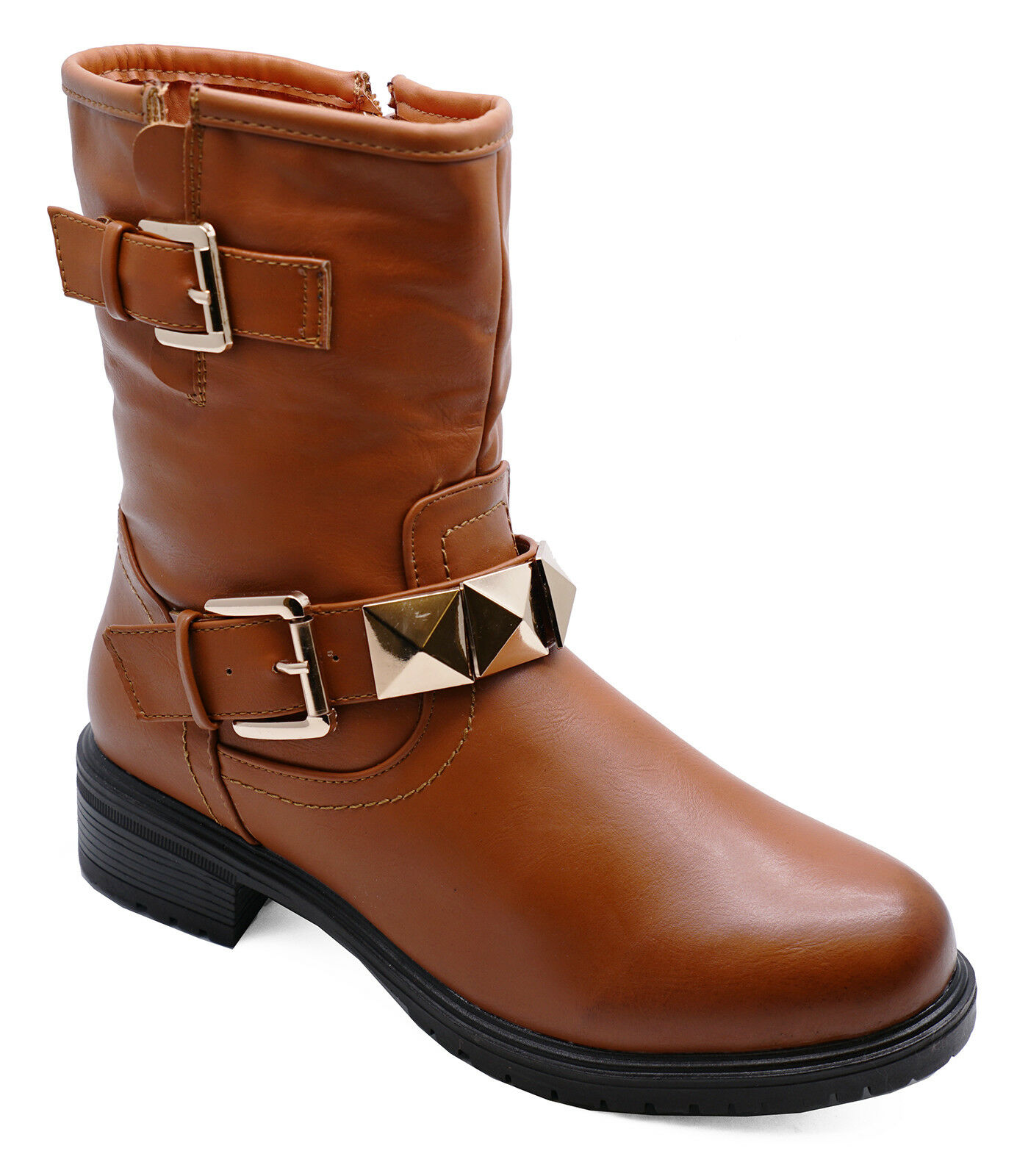 LADIES TAN LACE-UP FLAT DESERT ANKLE CALF WINTER WORK BOOTS SHOES SIZES 3-8