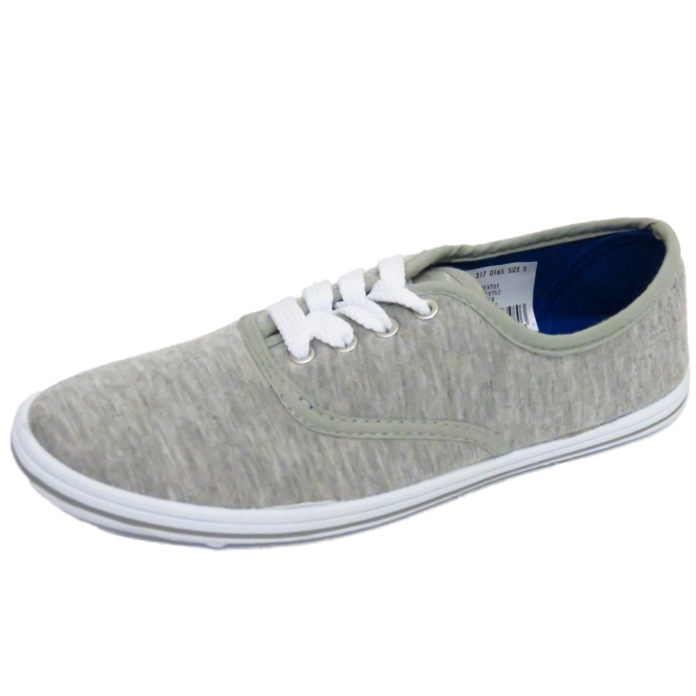 LADIES LACE-UP GREY CANVAS FLAT TRAINER