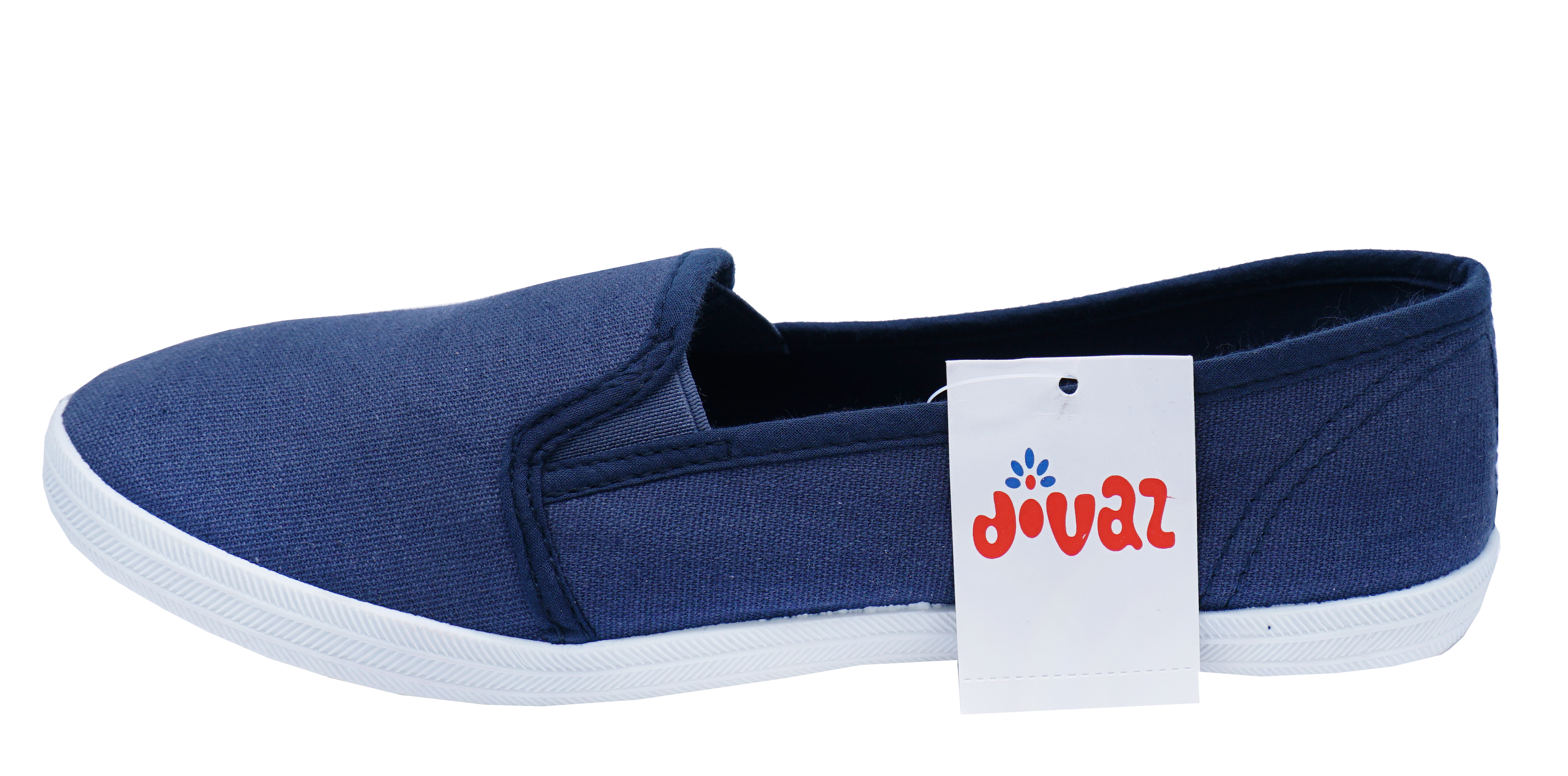 WOMENS BLUE SLIP-ON COMFY CASUAL PLIMSOLLS CANVAS PUMPS HOLIDAY SHOES 3-8