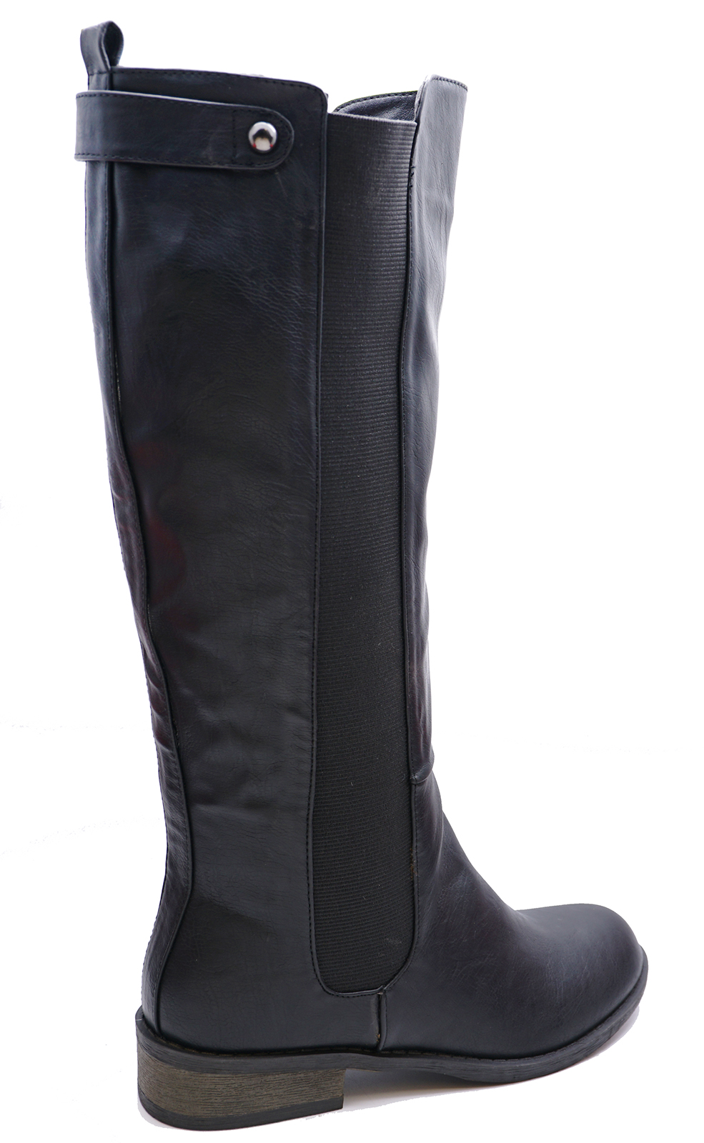 LADIES-BLACK-FLAT-STRETCH-ZIP-UP-KNEE-HIGH-TALL-RIDING-BOOTS-COMFY-SHOES-3-8 thumbnail 7