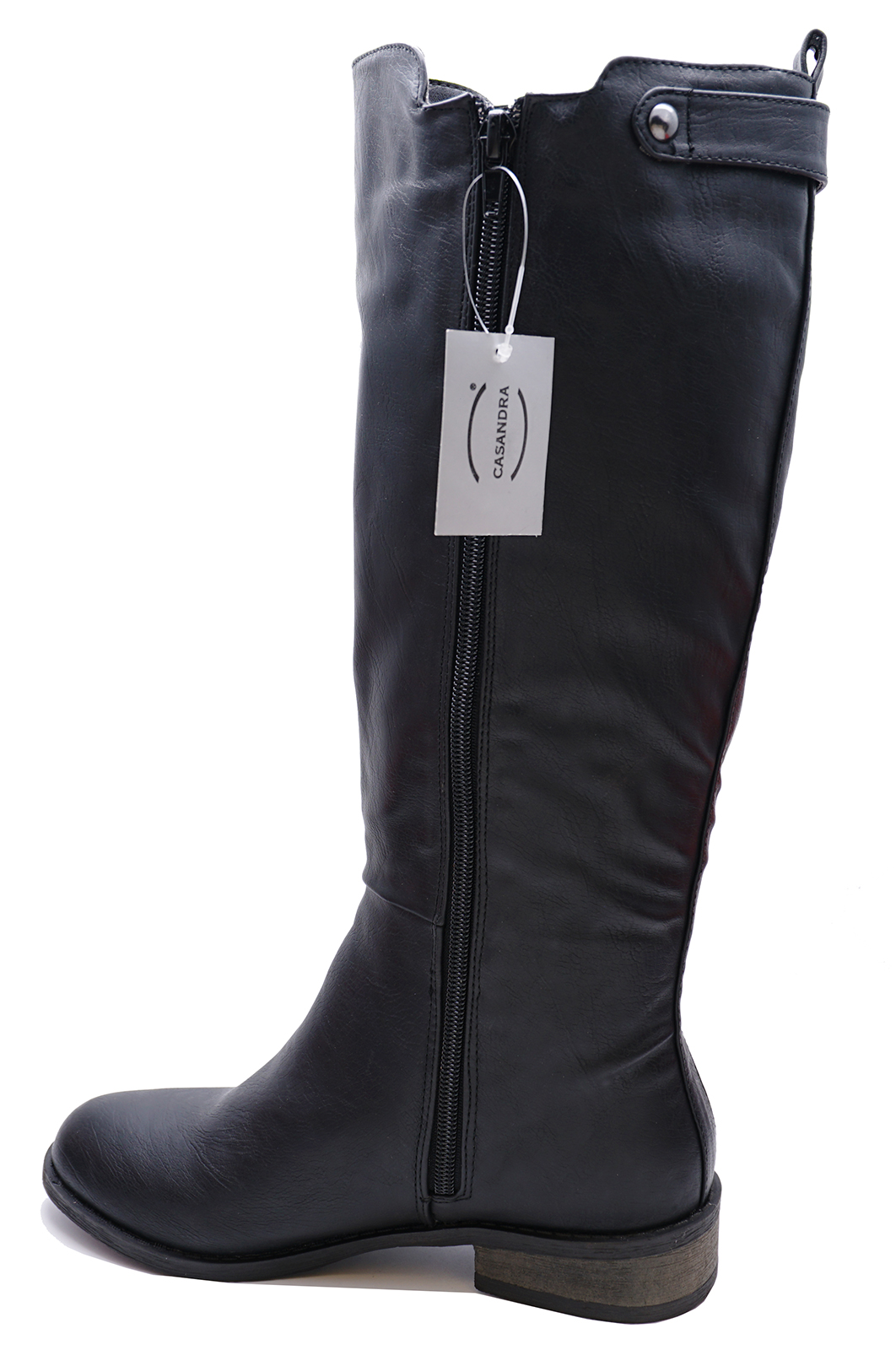 LADIES-BLACK-FLAT-STRETCH-ZIP-UP-KNEE-HIGH-TALL-RIDING-BOOTS-COMFY-SHOES-3-8 thumbnail 6