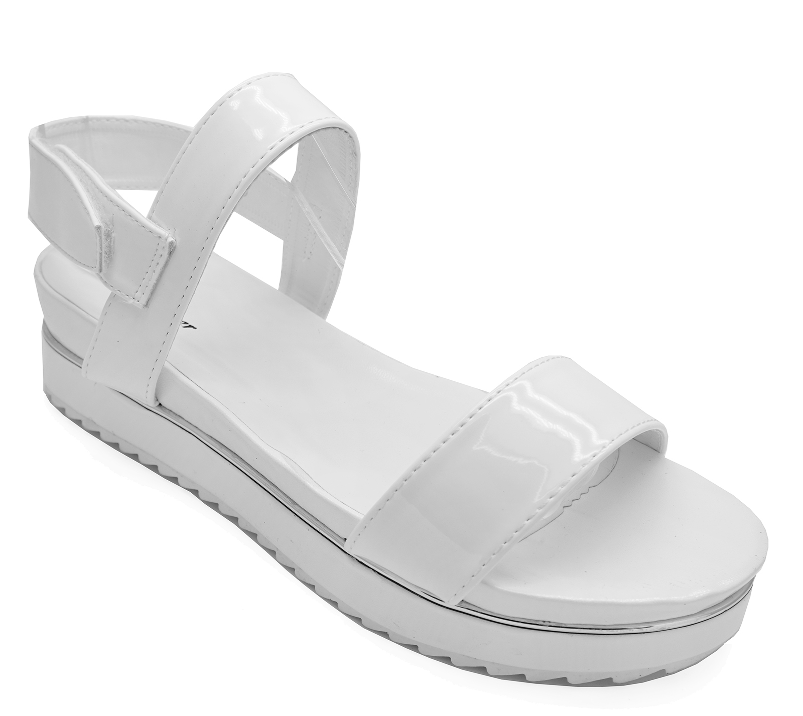 WOMENS WHITE PEEP-TOE FLATFORM WEDGE SANDALS COMFY SUMMER SHOES PUMPS UK 3-8