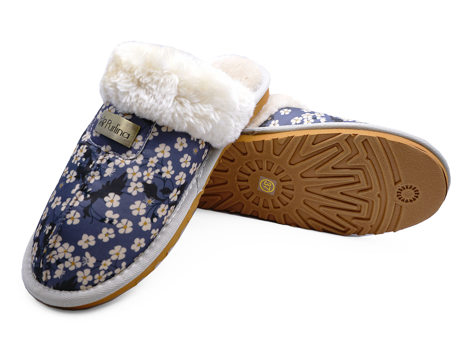 LADIES-BLUE-DAISY-SLIP-ON-FUR-LINED-MULES-WARM-INDOOR-LUXURY-SLIPPERS-SIZES-3-8 thumbnail 6