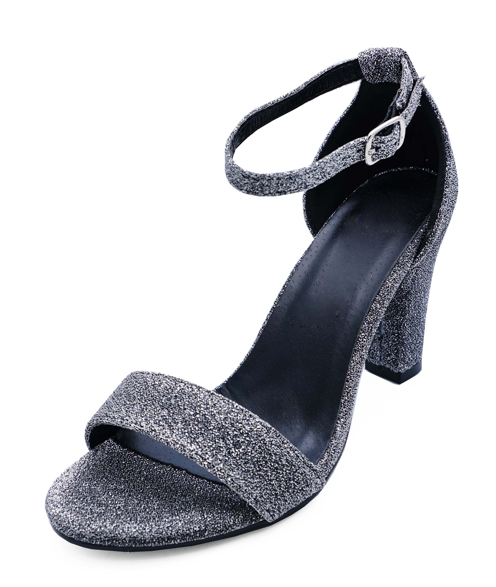 WOMENS SILVER WIDE FIT EEE OPEN-TOE PARTY WEDDING COMFY