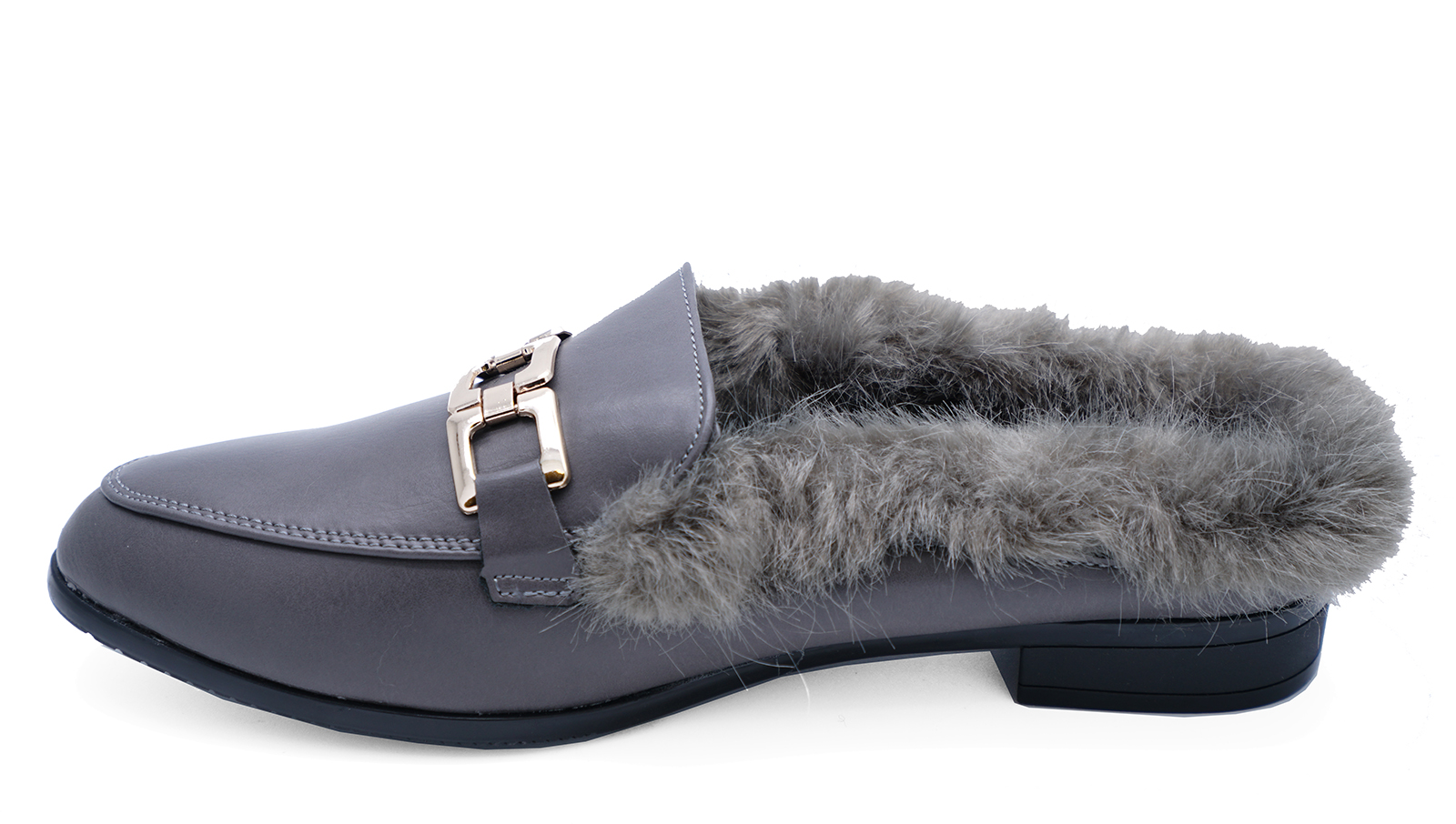 WOMENS FLAT GREY FUR LINED SLIP-ON SMART MULES LOAFERS SLIDERS SHOES SIZES 3-8