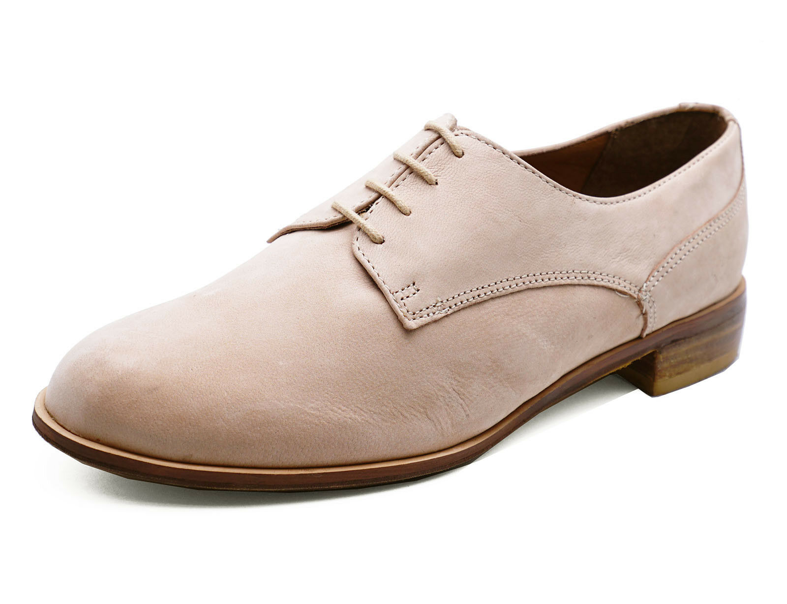 LADIES REAL LEATHER NUDE FLAT LACE-UP