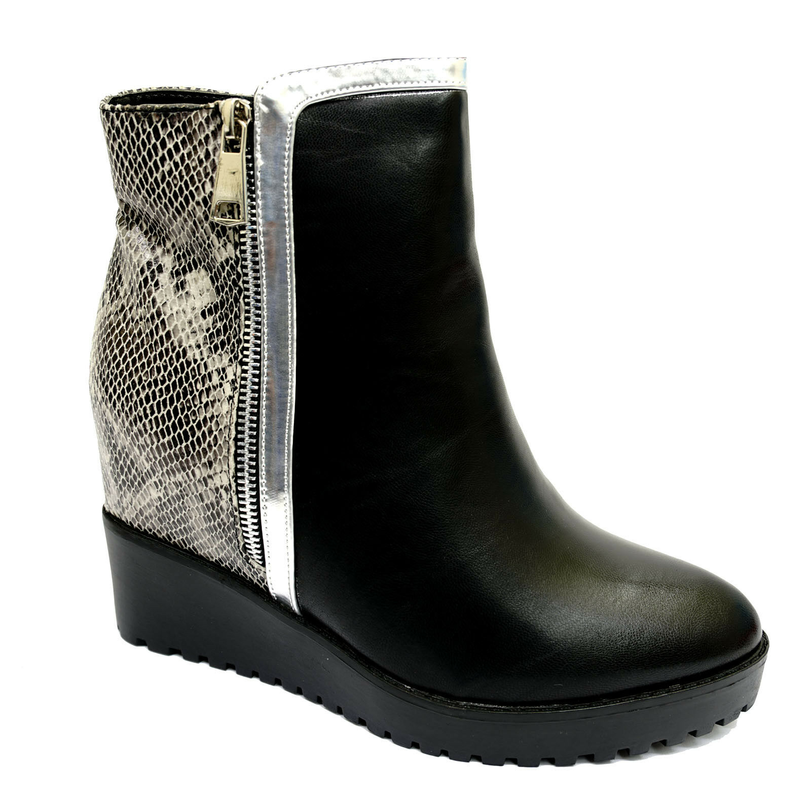 WOMENS BLACK SNAKE WEDGE ZIP-UP SMART ROCK-CHICK ANKLE CHELSEA BOOTS SHOES 3-8