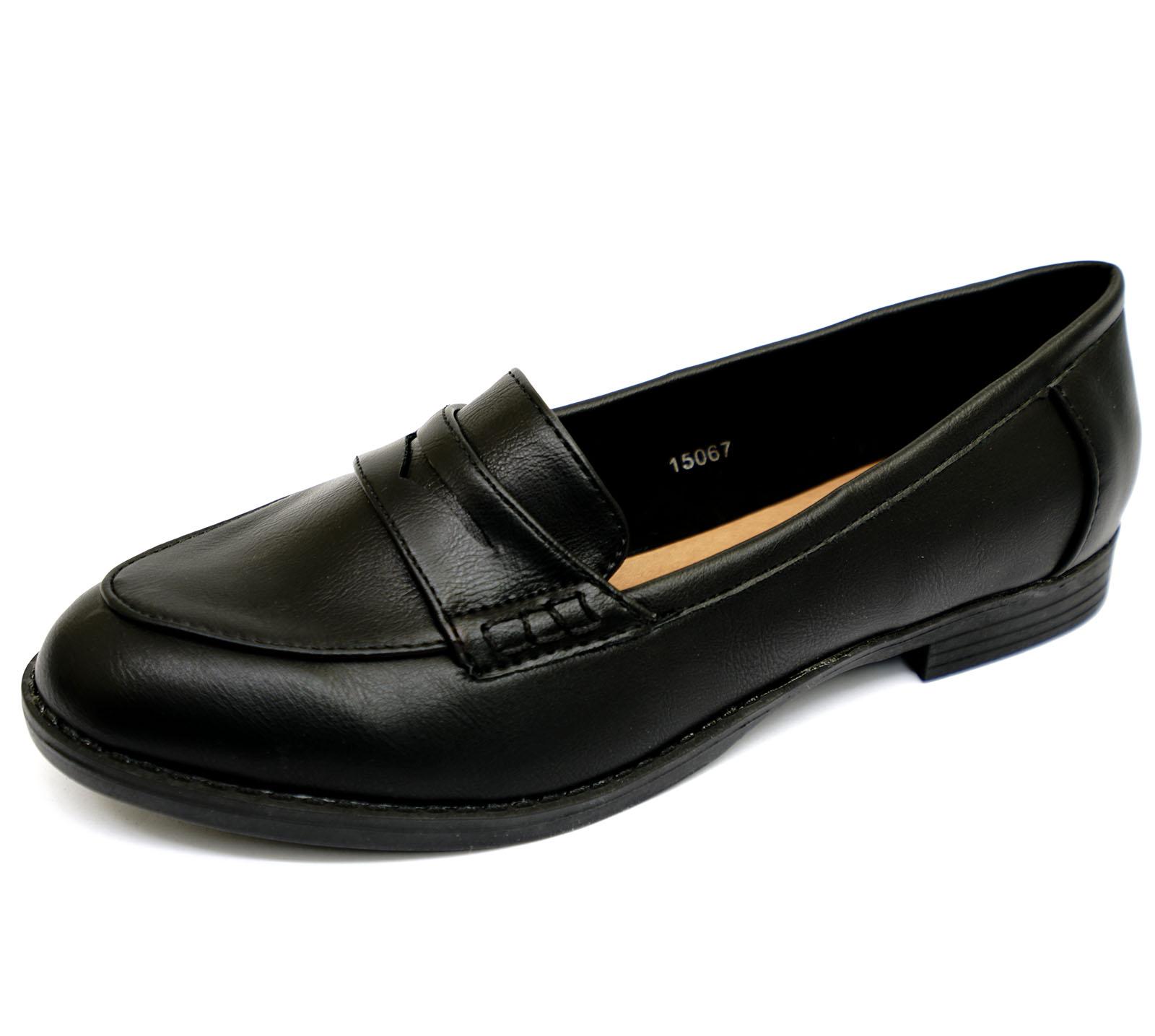 LADIES BLACK SLIP-ON LOAFERS MOCCASIN