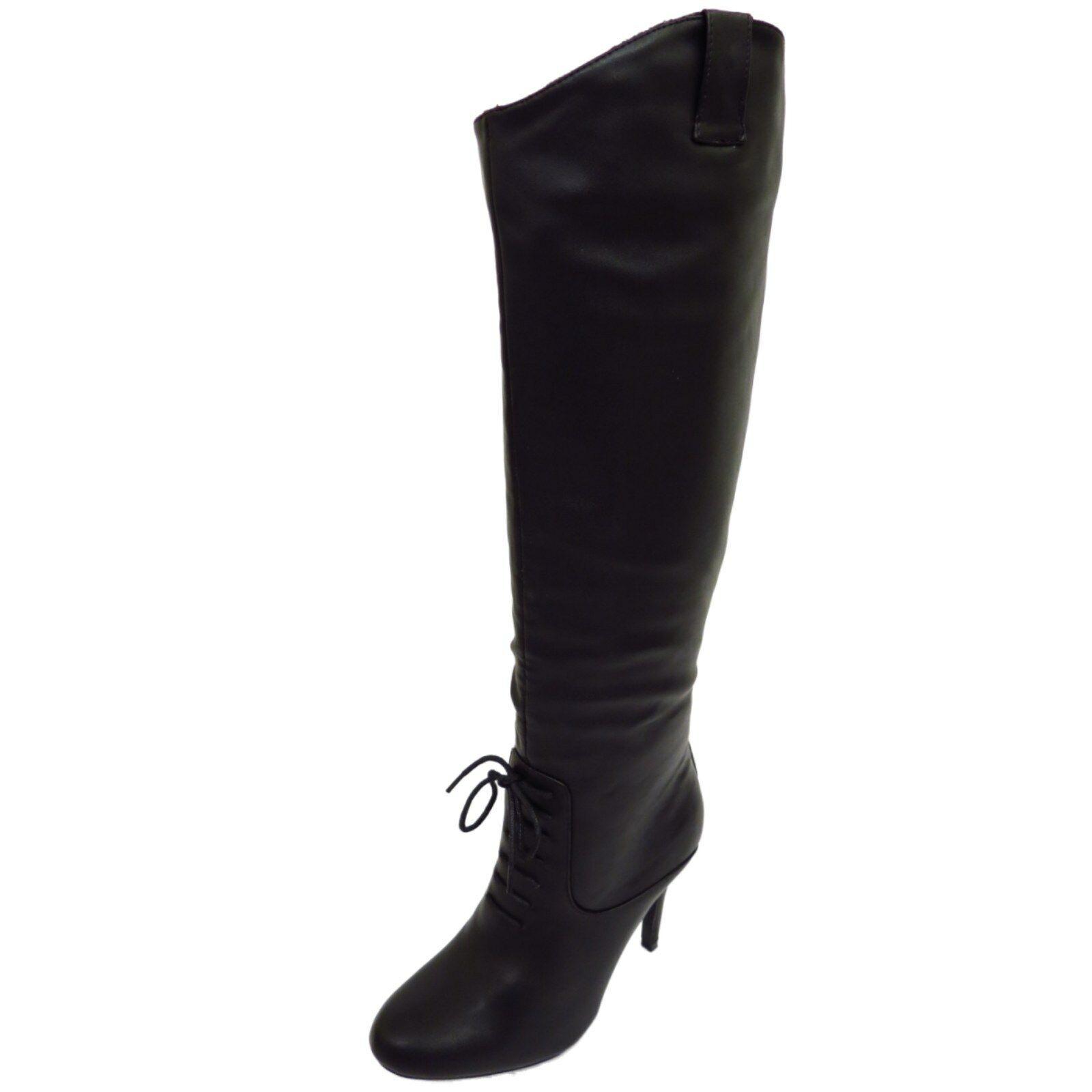 Señoras Negras Hasta La Rodilla Tacón Alto Alto Cremallera Botas Victoriano Largo Pantorrilla Zapatos Talla 4-7