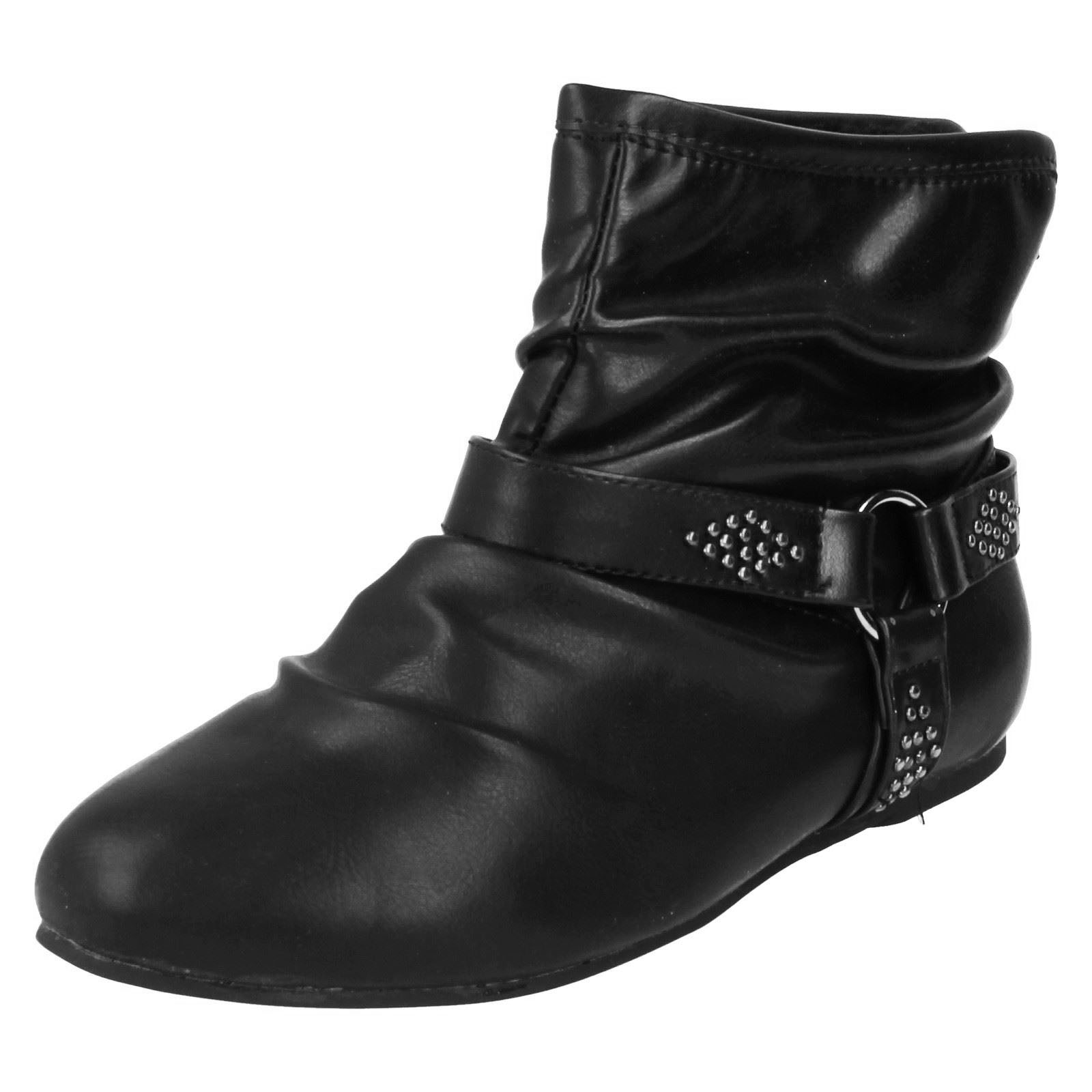 WOMENS FLAT SLIP-ON BLACK CASUAL BIKER COMFY BOHO WORK ANKLE BOOTS SHOES 3-8