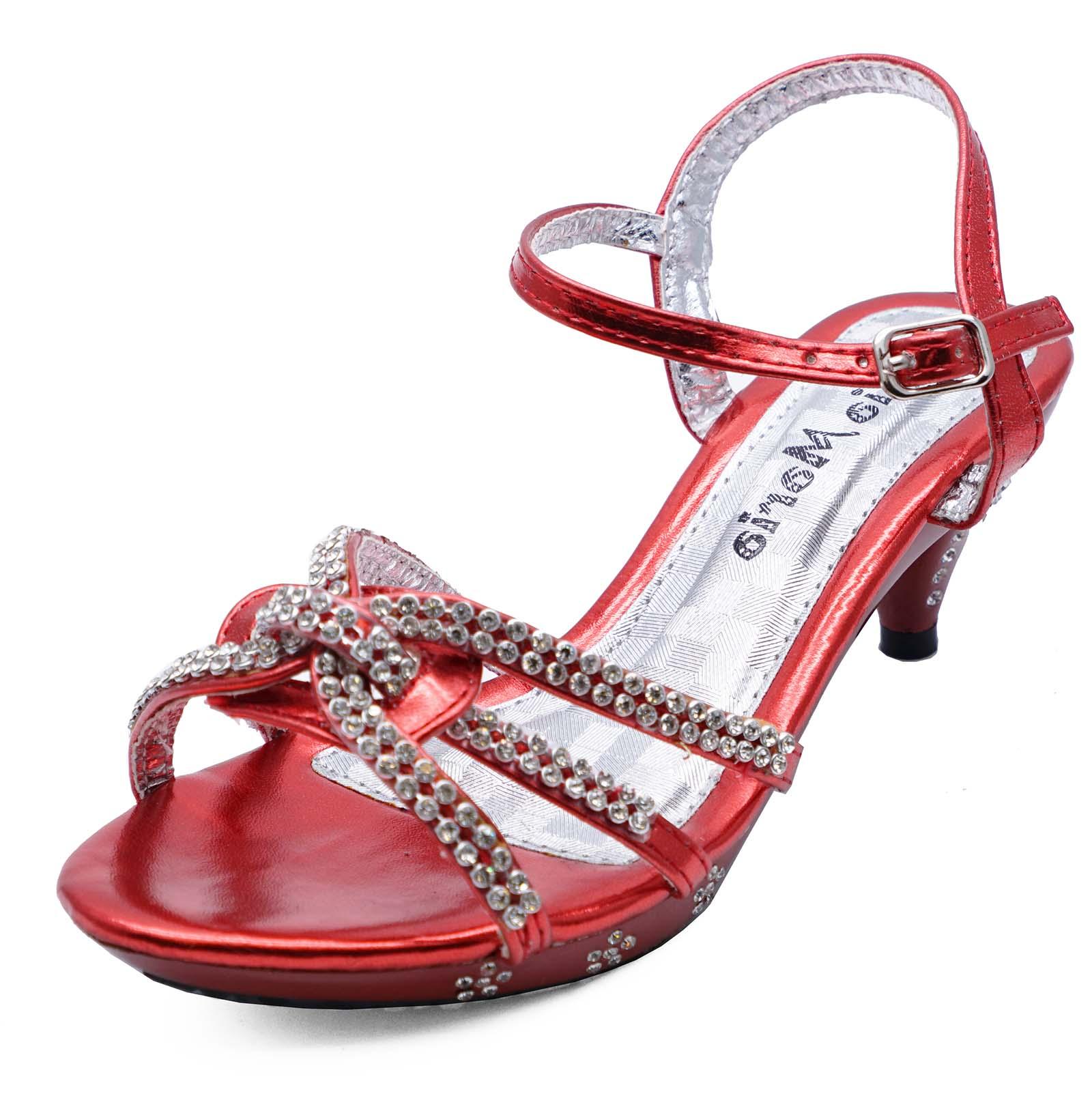 Dettagli su Le ragazze per bambini Red Dress Up Diamante Sandali Tacco Basso Scarpe Da Sera Taglie 10 2 mostra il titolo originale