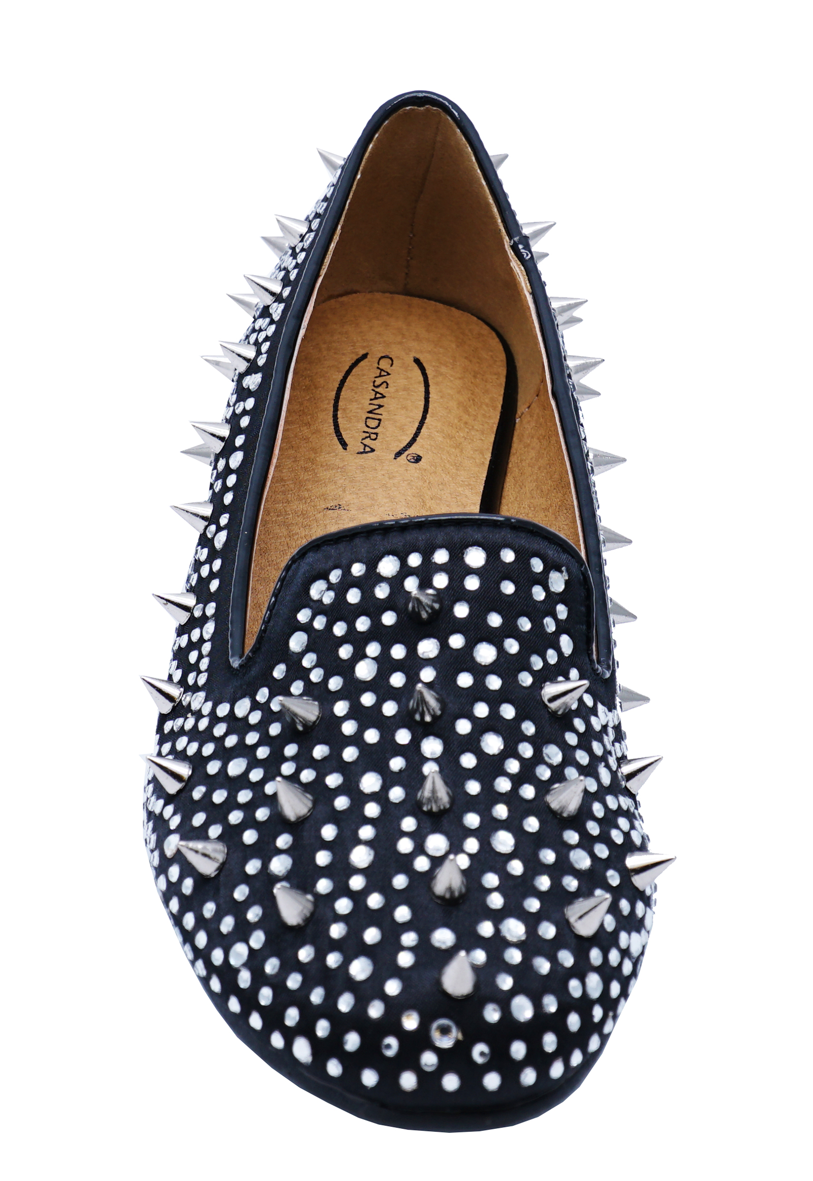Ladies Navy Studded Dolly Shoes