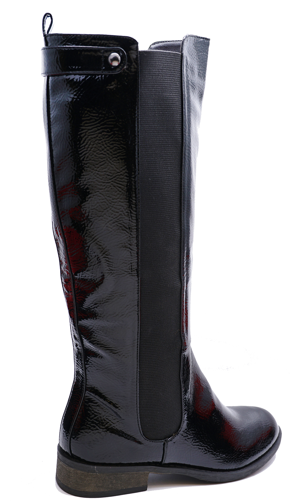 LADIES-BLACK-PATENT-STRETCH-ZIP-UP-KNEE-HIGH-TALL-RIDING-BOOTS-COMFY-SHOES-3-8 thumbnail 7