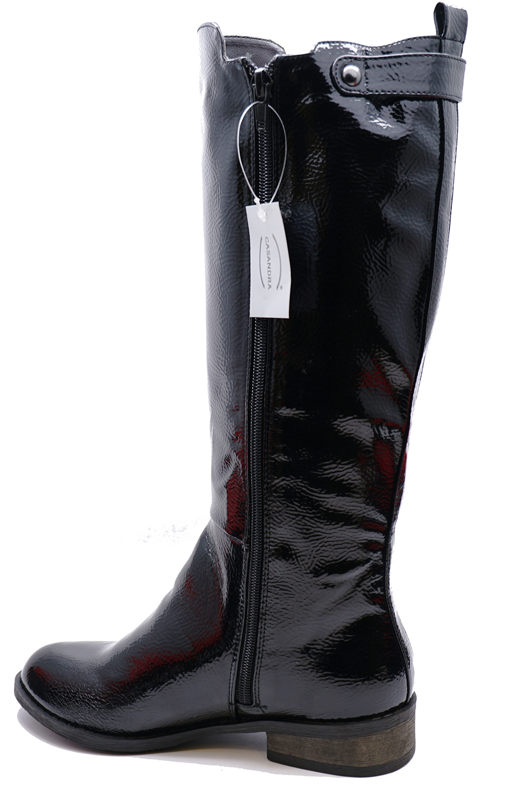 LADIES-BLACK-PATENT-STRETCH-ZIP-UP-KNEE-HIGH-TALL-RIDING-BOOTS-COMFY-SHOES-3-8 thumbnail 8