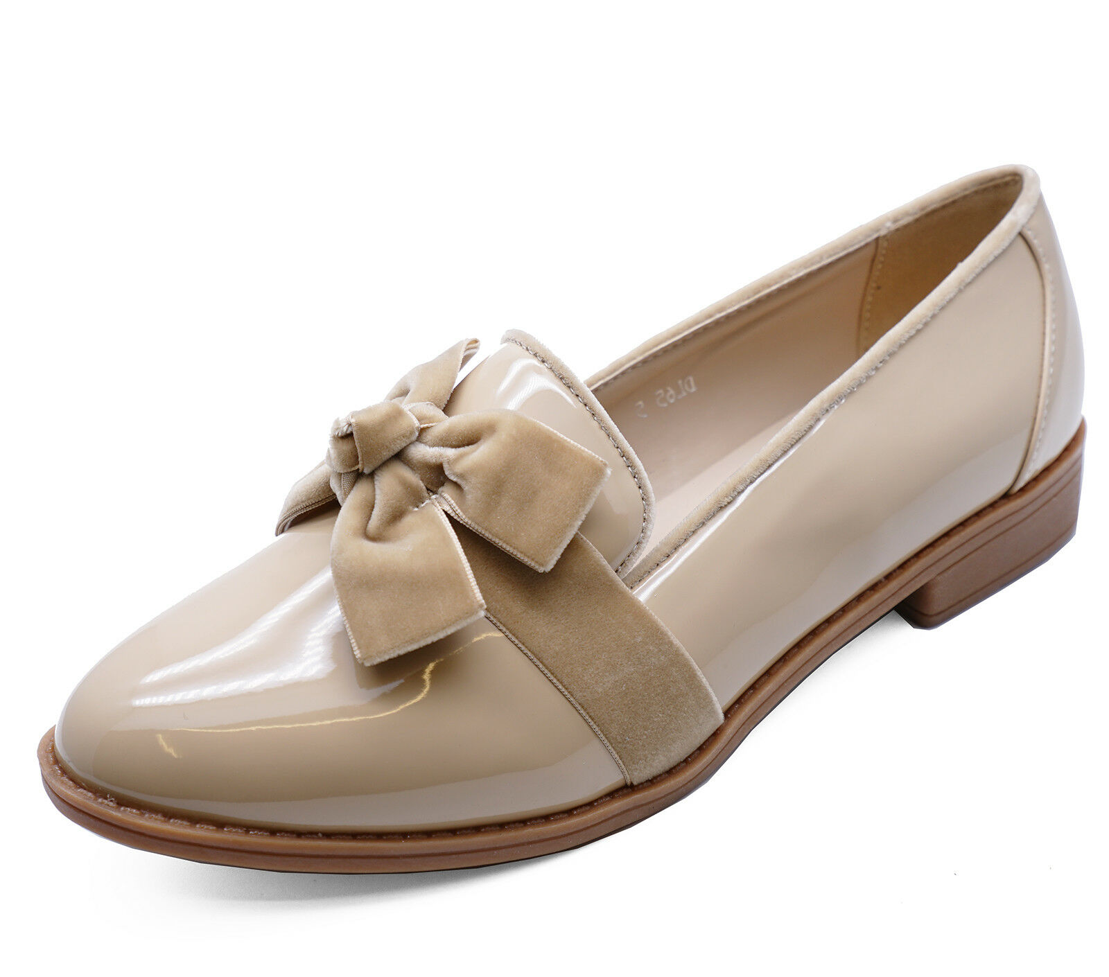 LADIES SMART BEIGE SLIP-ON LOAFERS CASUAL WORK PATENT COMFY FLAT SHOES SIZES 3-8