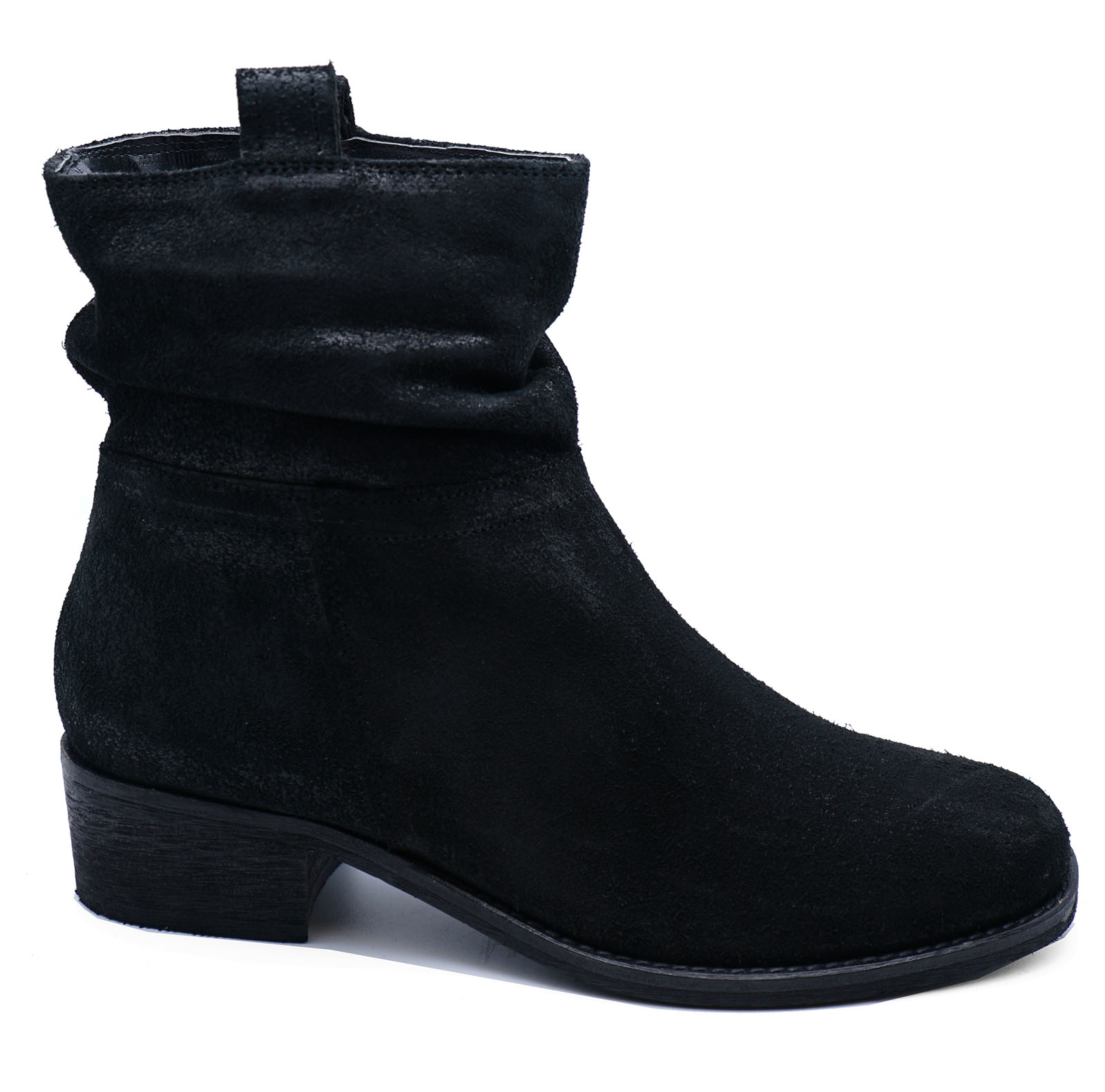 thumbnail 6 - LADIES-GENUINE-LEATHER-BLACK-ZIP-UP-ANKLE-CALF-SLOUCH-BOOTS-COMFY-SHOES-UK-2-9