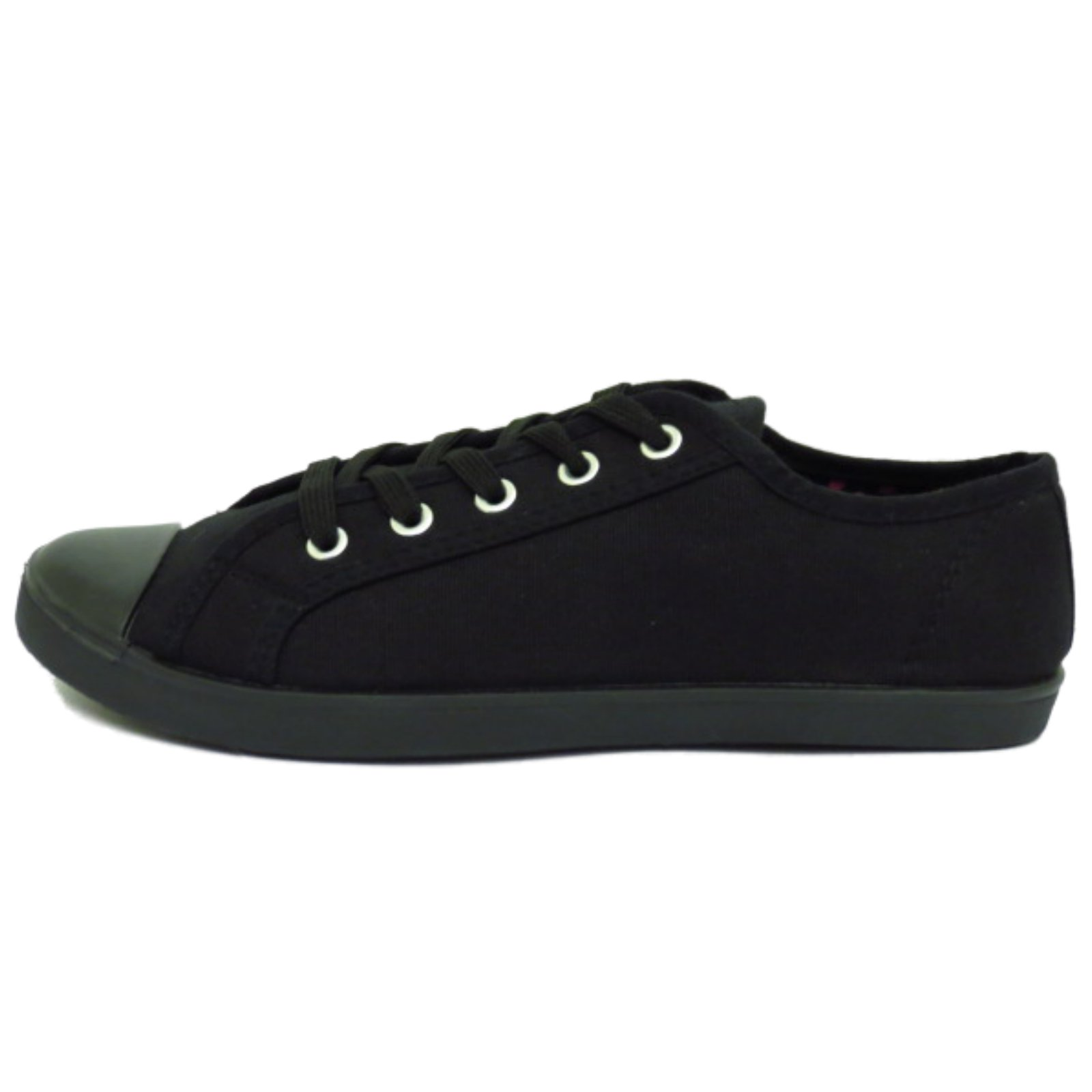 LADIES-BLACK-CANVAS-FLAT-LACE-UP-TRAINER-PLIMSOLL-PUMPS-CASUAL-SHOES-SIZES-3-9 thumbnail 7