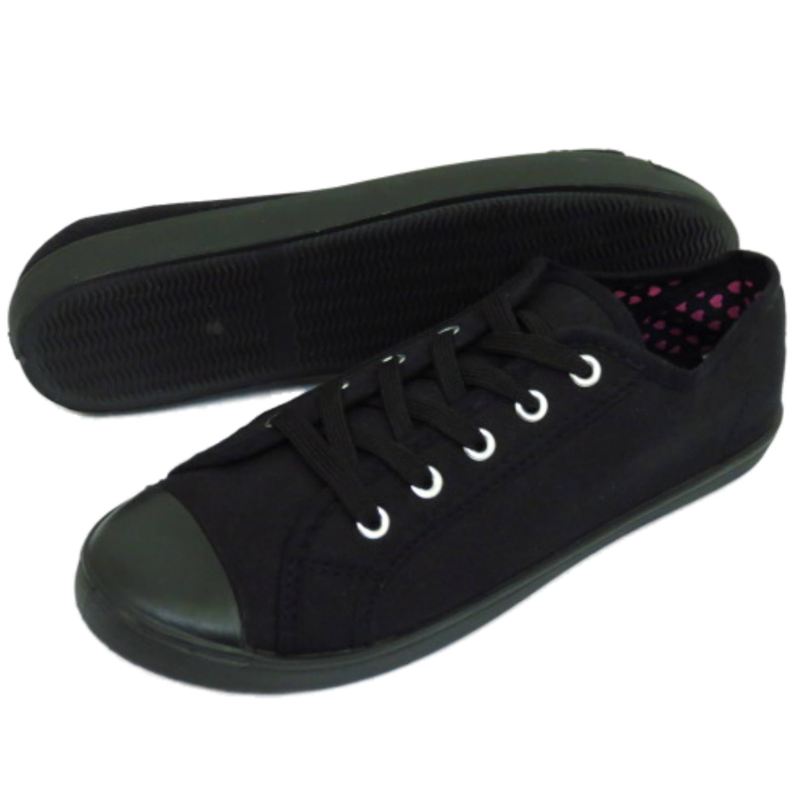LADIES-BLACK-CANVAS-FLAT-LACE-UP-TRAINER-PLIMSOLL-PUMPS-CASUAL-SHOES-SIZES-3-9 thumbnail 6