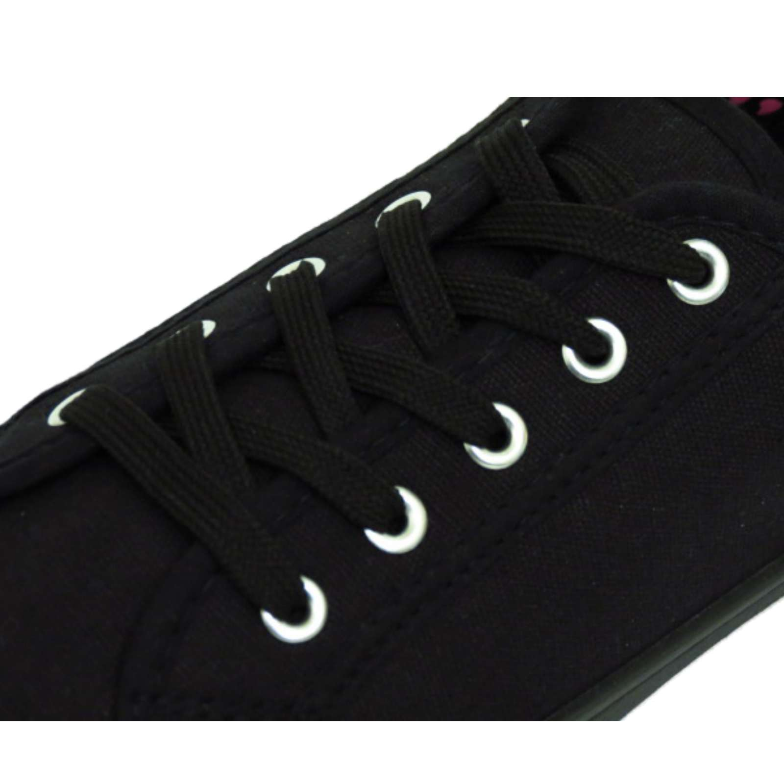 LADIES-BLACK-CANVAS-FLAT-LACE-UP-TRAINER-PLIMSOLL-PUMPS-CASUAL-SHOES-SIZES-3-9 thumbnail 8