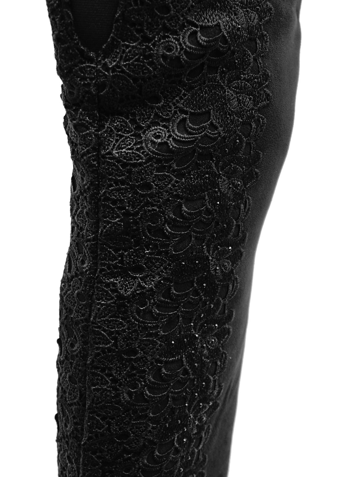 LADIES-BLACK-LACE-OVER-THE-KNEE-HIGH-ZIP-UP-STRETCH-PLATFORM-BOOTS-SHOES-UK-3-8 thumbnail 8