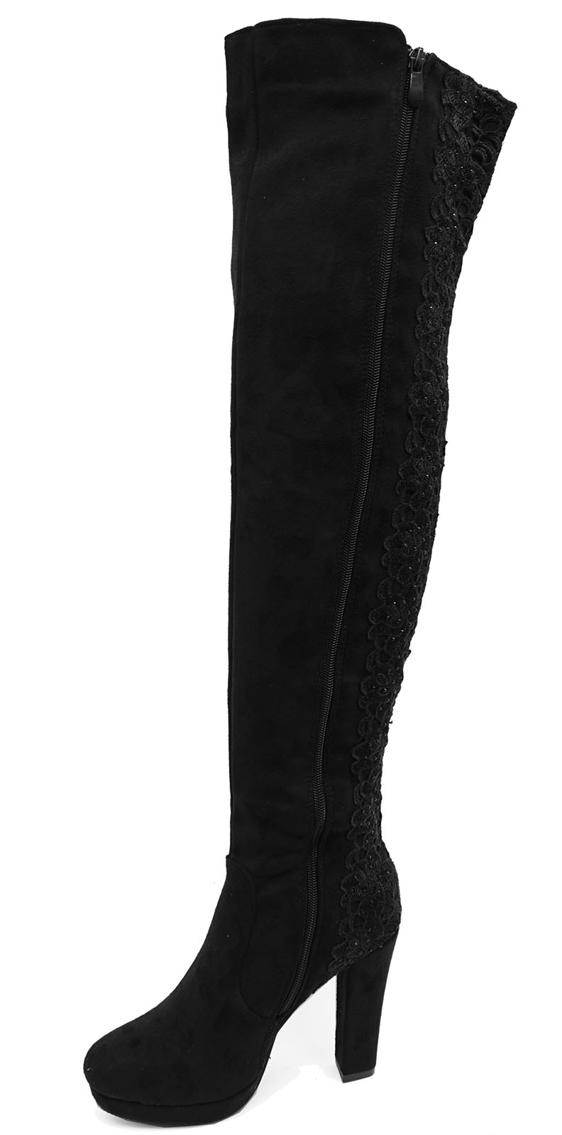 LADIES-BLACK-LACE-OVER-THE-KNEE-HIGH-ZIP-UP-STRETCH-PLATFORM-BOOTS-SHOES-UK-3-8 thumbnail 7