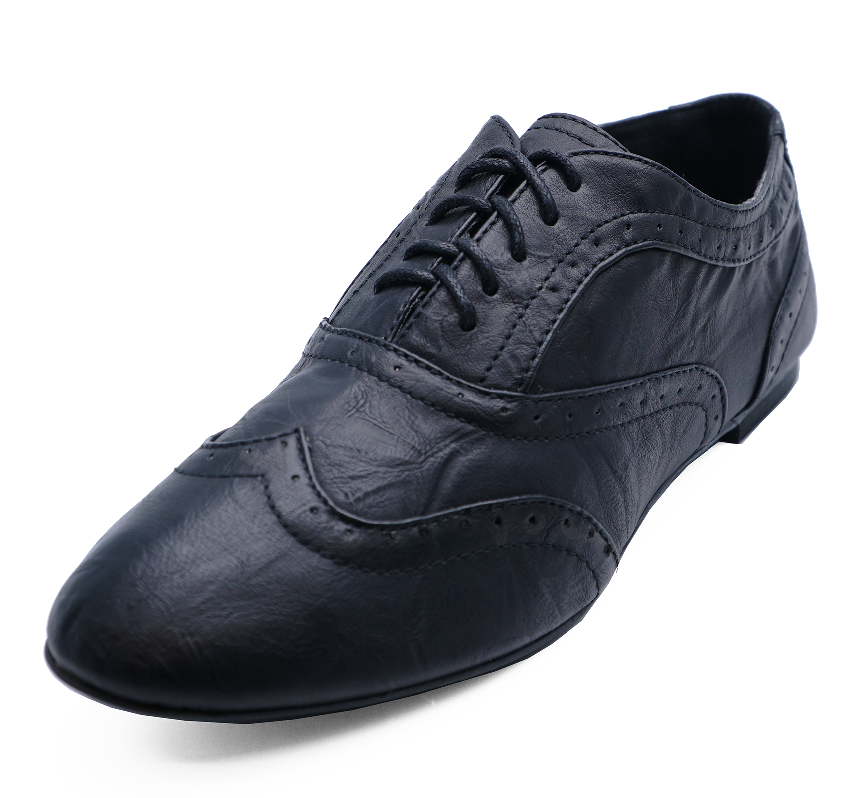 LADIES BLACK SLIP-ON SMART CASUAL WORK LOAFERS COMFY BROGUES SHOES SIZES 3-8