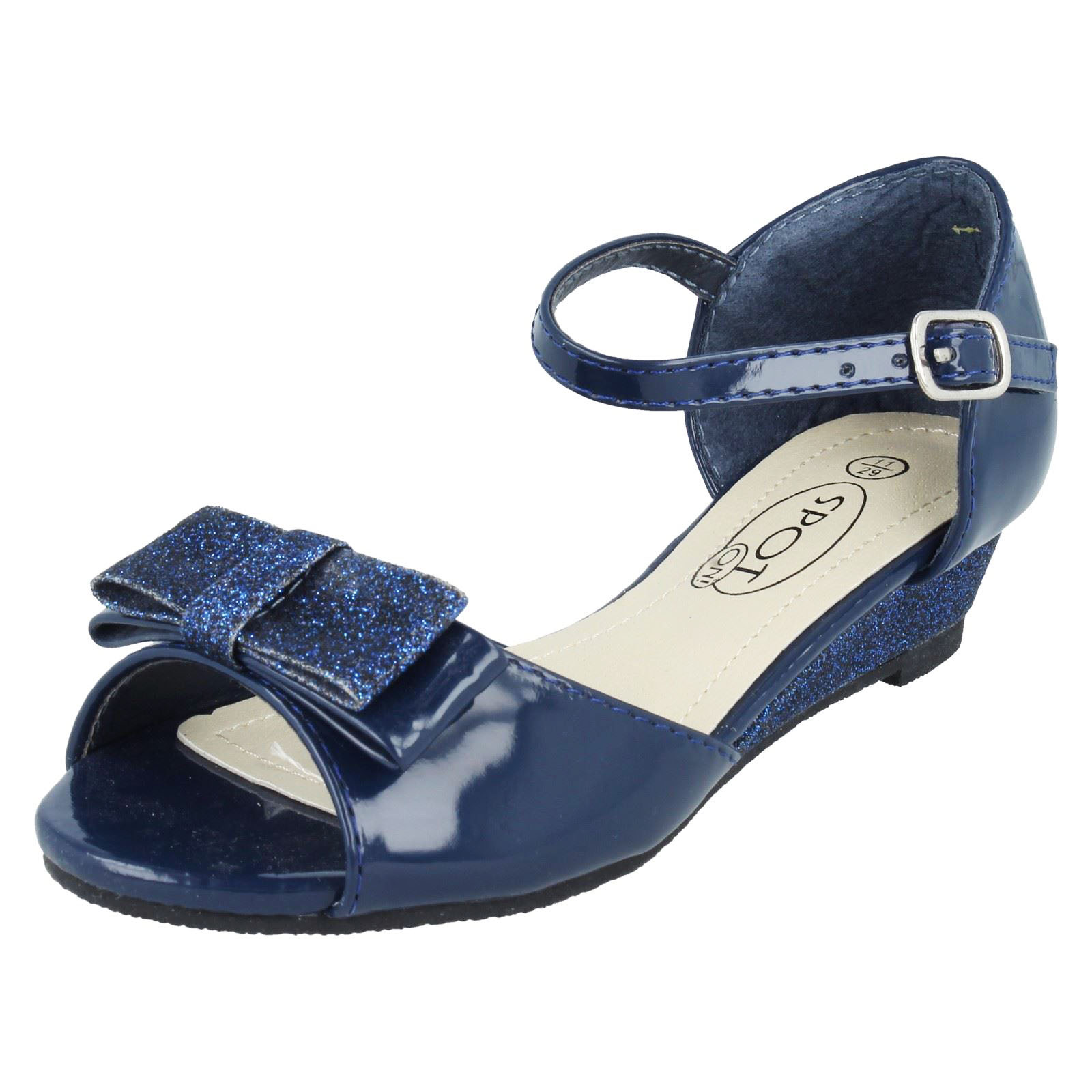 GIRLS KIDS NAVY PEEP-TOE PARTY SHOES