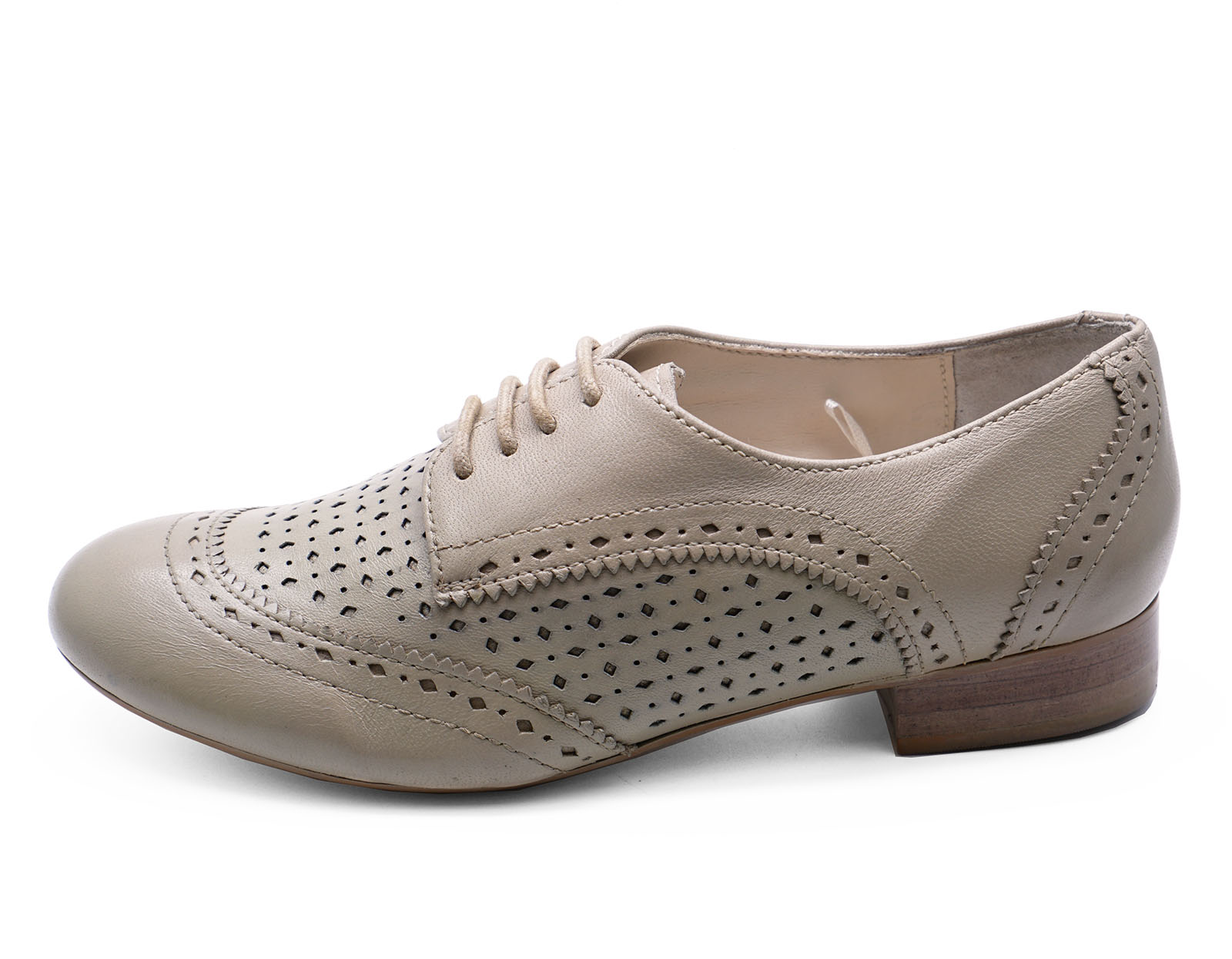 LADIES REAL LEATHER NUDE FLAT LACE-UP BROGUE LOAFERS SMART CASUAL SHOES UK 3-8