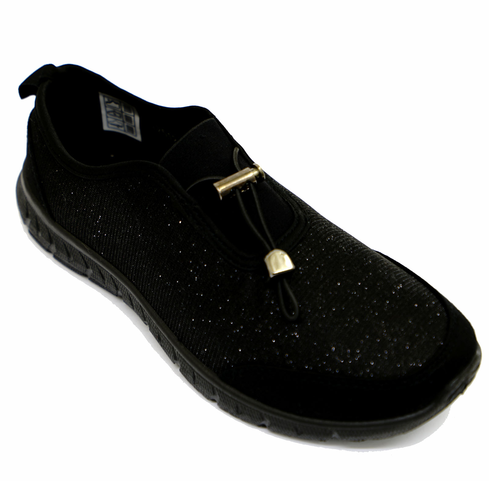 thumbnail 10 - LADIES-BLACK-SLIP-ON-COMFORT-MEMORY-FOAM-TRAINER-PLIMSOLL-CASUAL-PUMPS-SHOES-3-9