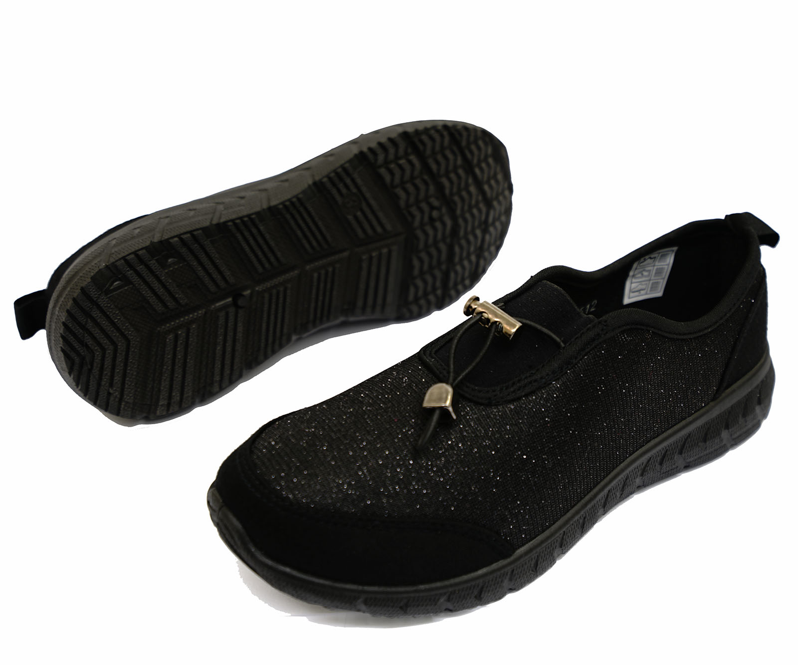 thumbnail 7 - LADIES-BLACK-SLIP-ON-COMFORT-MEMORY-FOAM-TRAINER-PLIMSOLL-CASUAL-PUMPS-SHOES-3-9