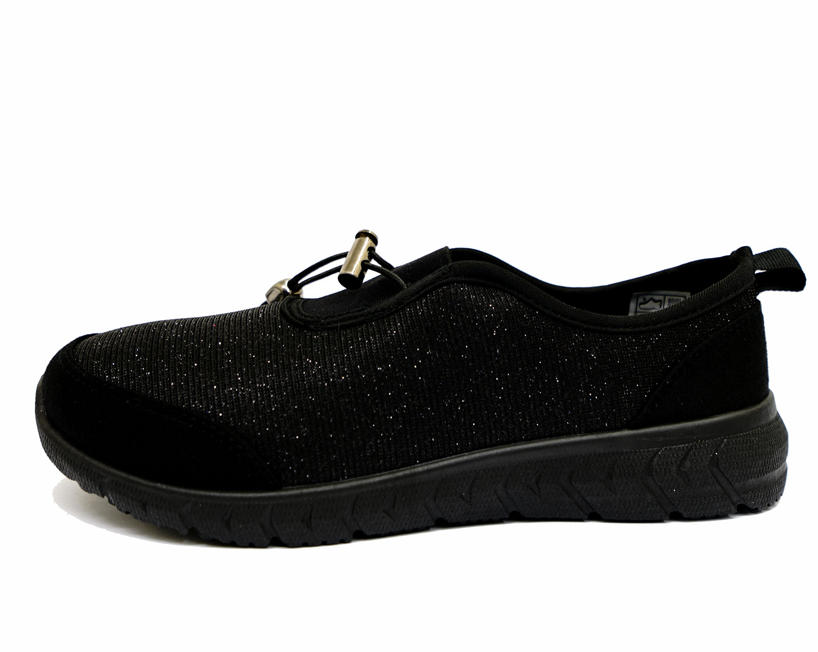 thumbnail 9 - LADIES-BLACK-SLIP-ON-COMFORT-MEMORY-FOAM-TRAINER-PLIMSOLL-CASUAL-PUMPS-SHOES-3-9