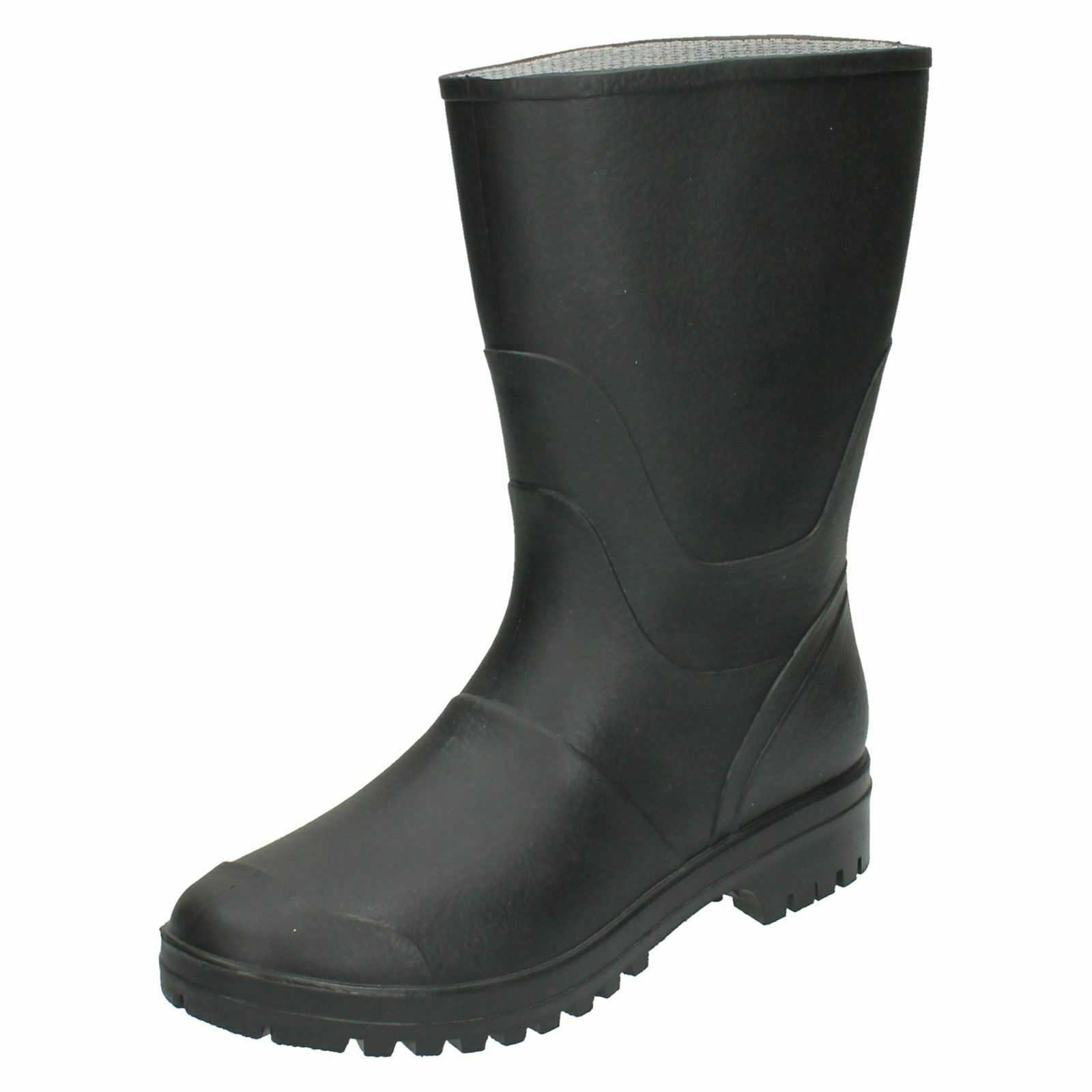 Mens Quilted Rain Wellies shoes Waterproof Rubber Pull-On work Mid-calf Boots