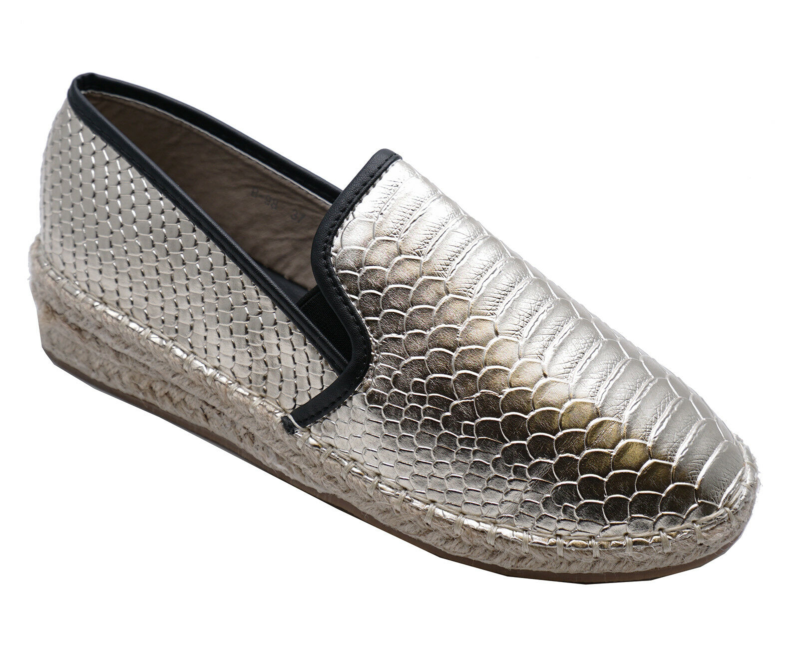 LADIES GOLD SLIP-ON FLAT LOAFERS ESPADRILLE PLIMSOLL CASUAL PUMPS SHOES UK 3-8