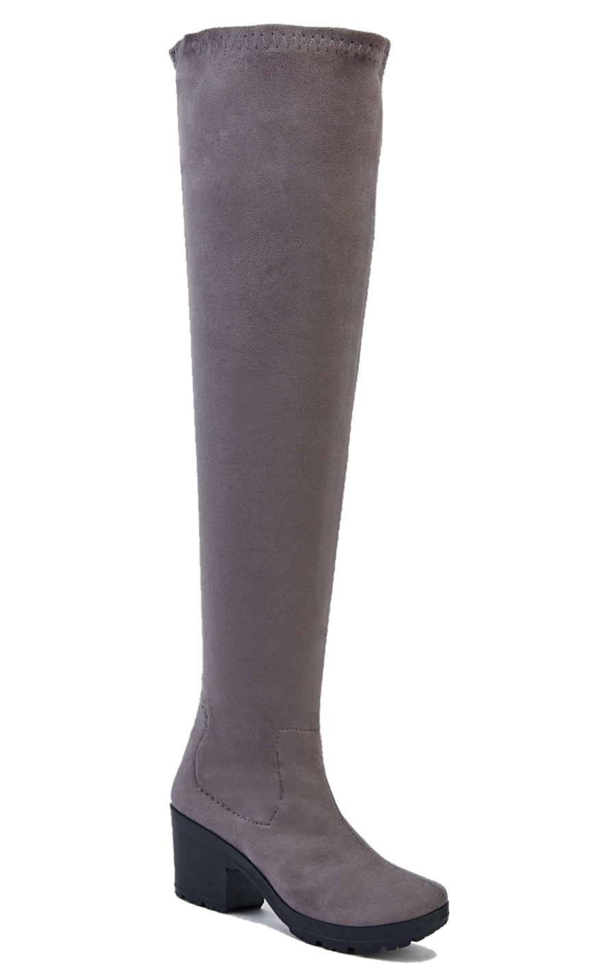 LADIES-GREY-STRETCH-OVER-THE-KNEE-HIGH-ZIP-UP-PLATFORM-BOOTS-SHOES-SIZES-3-9 thumbnail 6