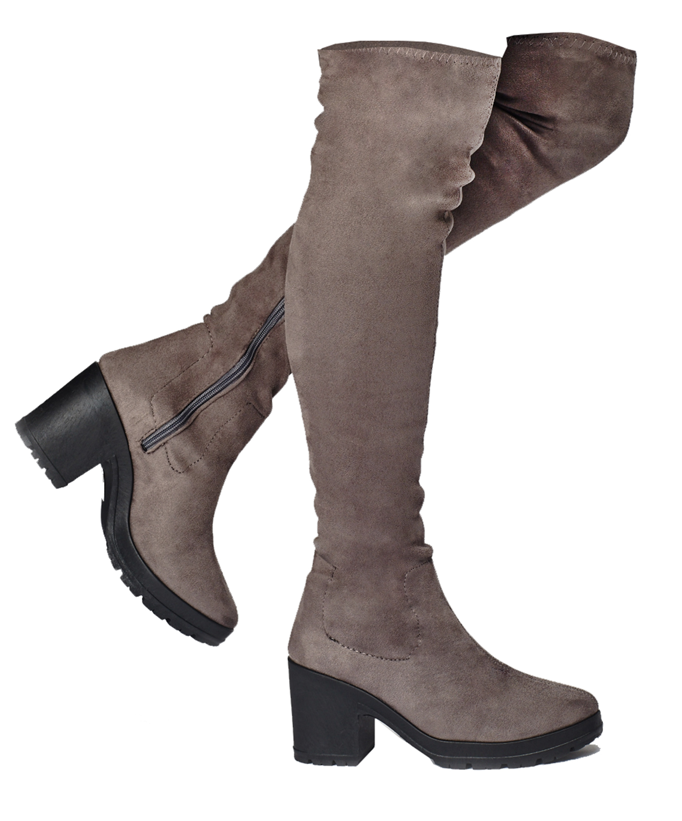 LADIES-GREY-STRETCH-OVER-THE-KNEE-HIGH-ZIP-UP-PLATFORM-BOOTS-SHOES-SIZES-3-9 thumbnail 8