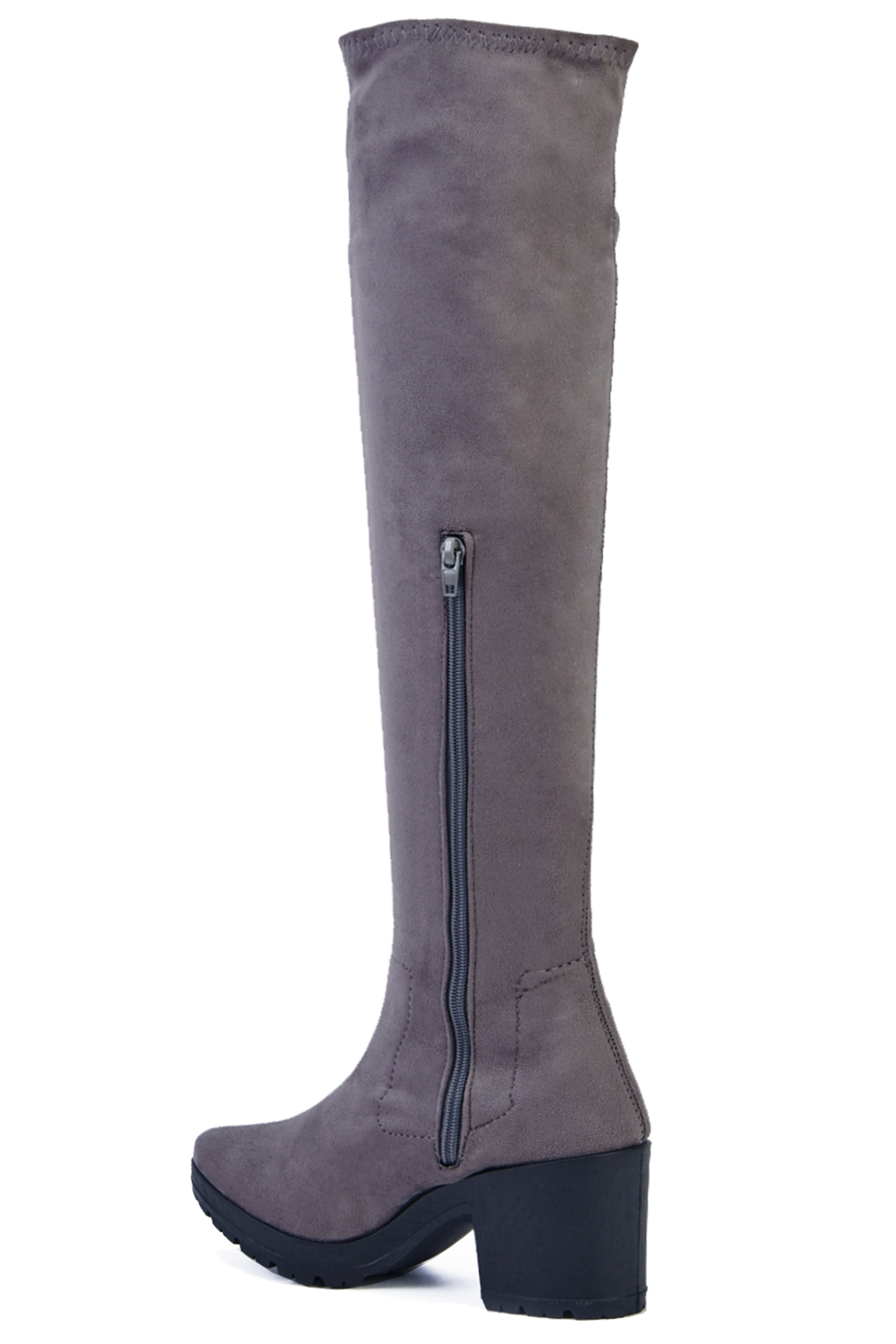 LADIES-GREY-STRETCH-OVER-THE-KNEE-HIGH-ZIP-UP-PLATFORM-BOOTS-SHOES-SIZES-3-9 thumbnail 7