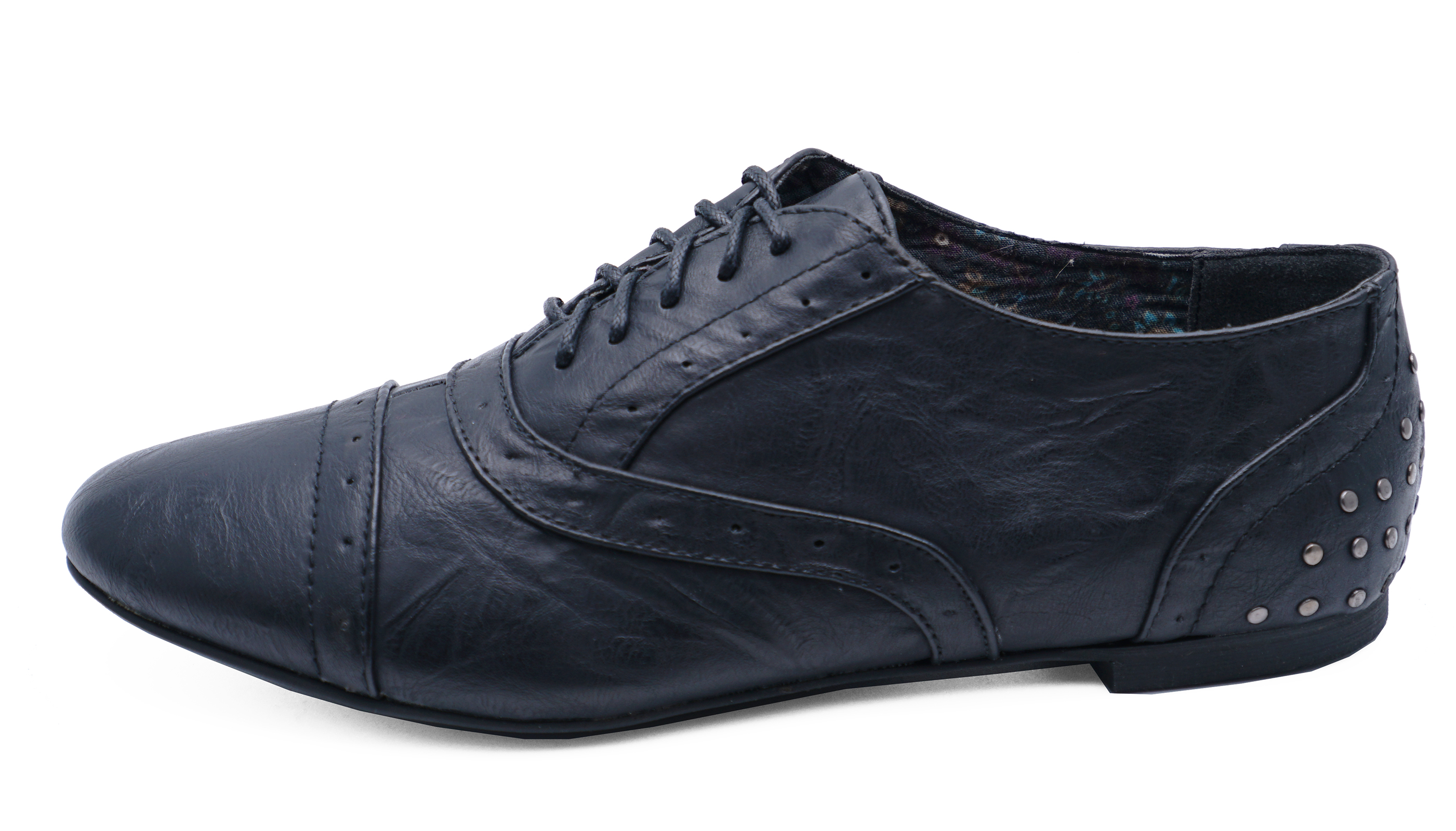 LADIES-BLACK-STUD-LACE-UP-FLAT-BROGUES-LOAFERS-SMART-WORK-SHOES-PUMPS-SIZES-3-8 thumbnail 6